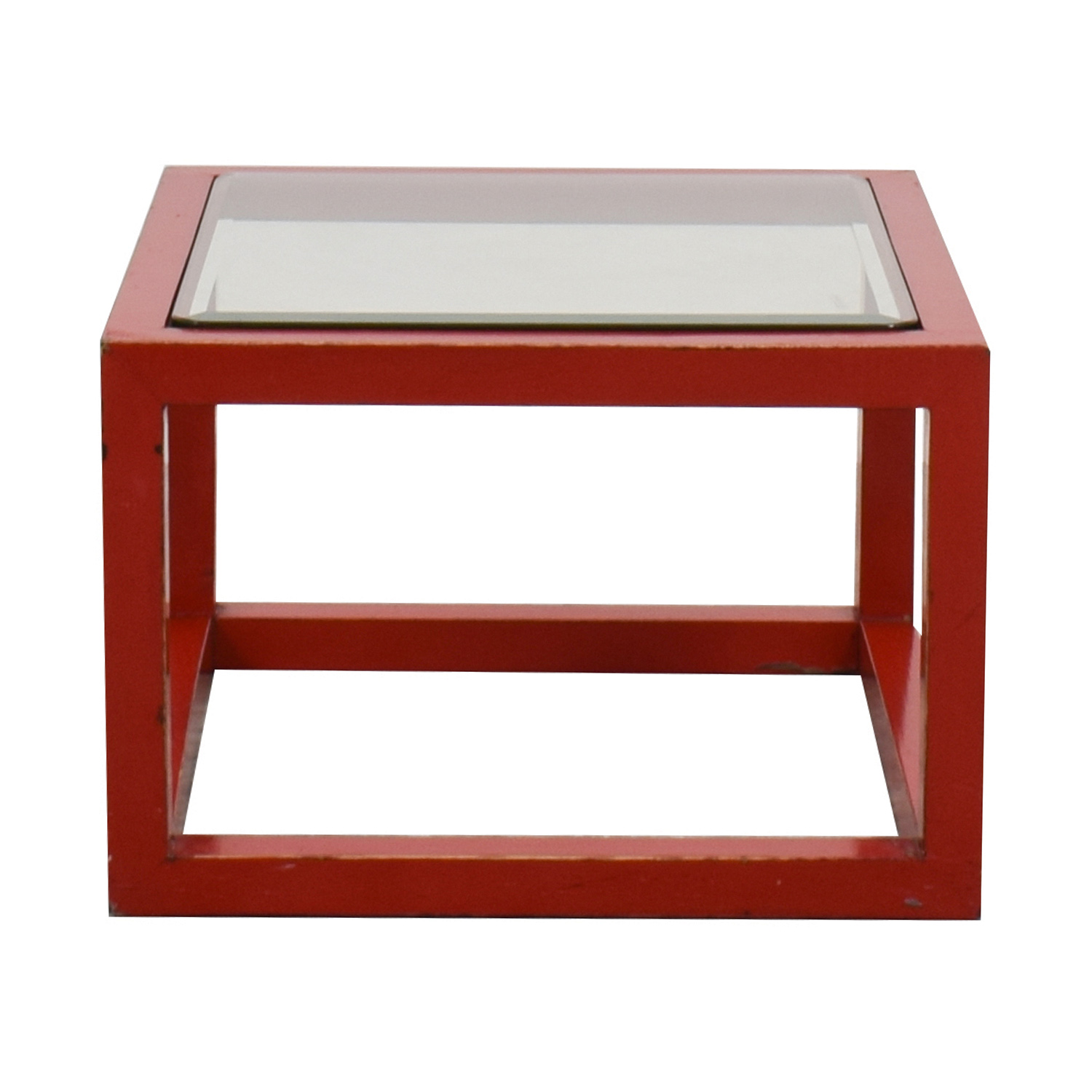 shop Crate & Barrel Modern Glass Top Red Coffee Table Crate & Barrel Coffee Tables