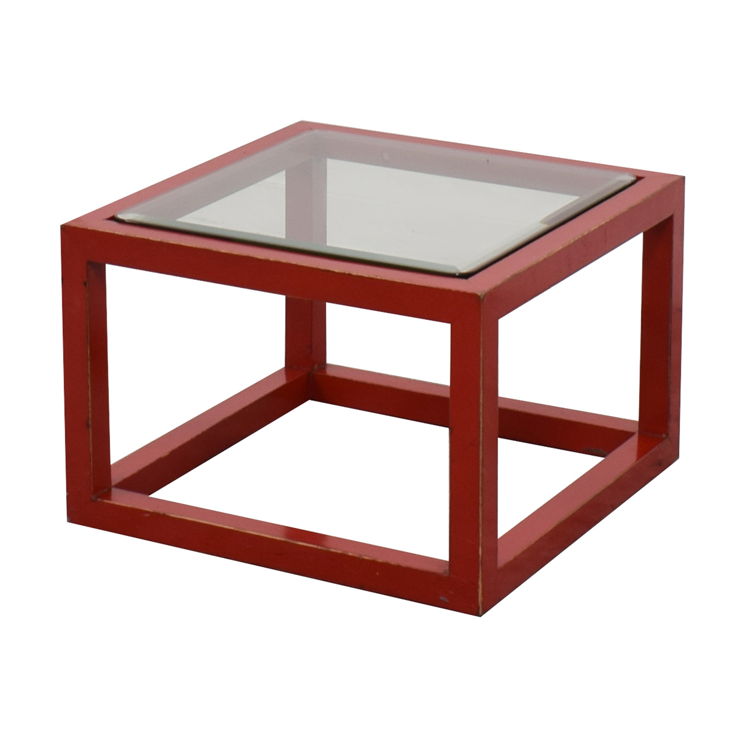 57% OFF Crate & Barrel Crate & Barrel Modern Glass Top Red