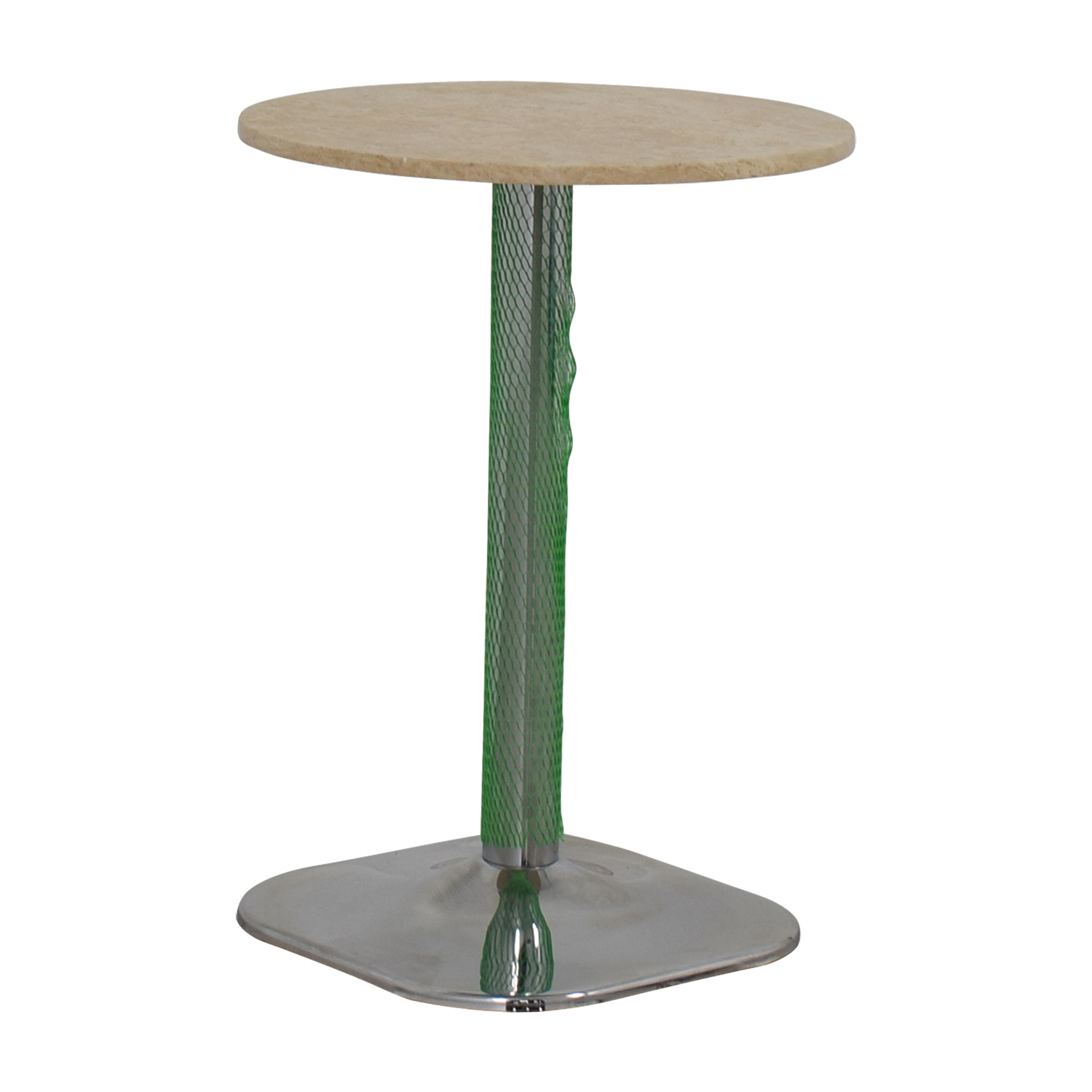 39% OFF Lotus Lotus Cream Marble with Green Pedestal Table Tables