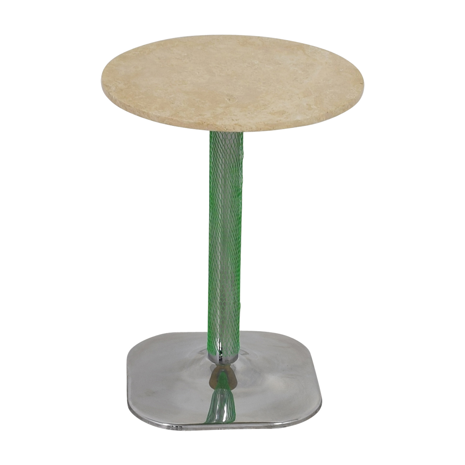 Lotus Lotus Cream Marble with Green Pedestal Table dimensions