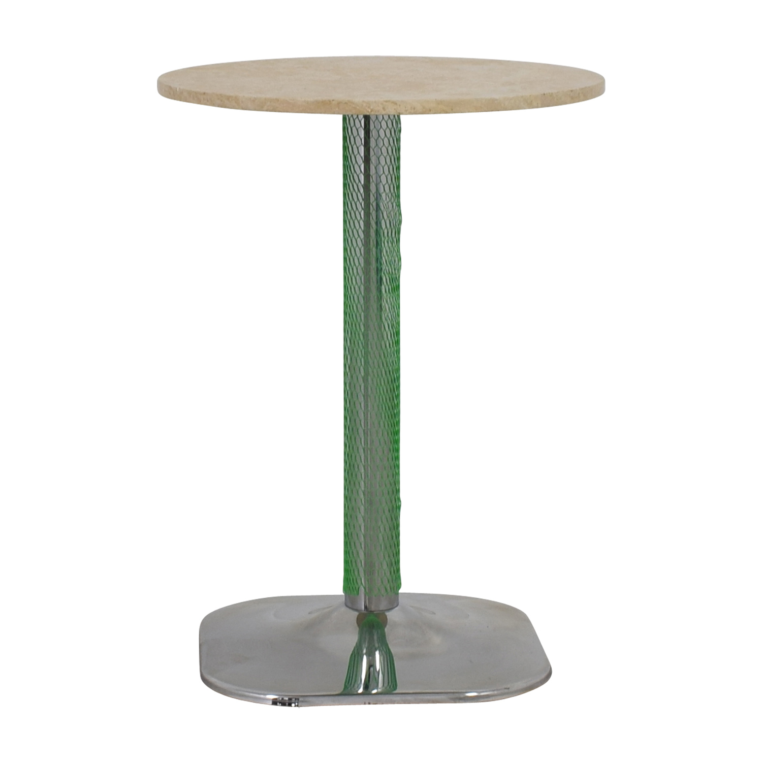 shop Lotus Lotus Cream Marble with Green Pedestal Table online