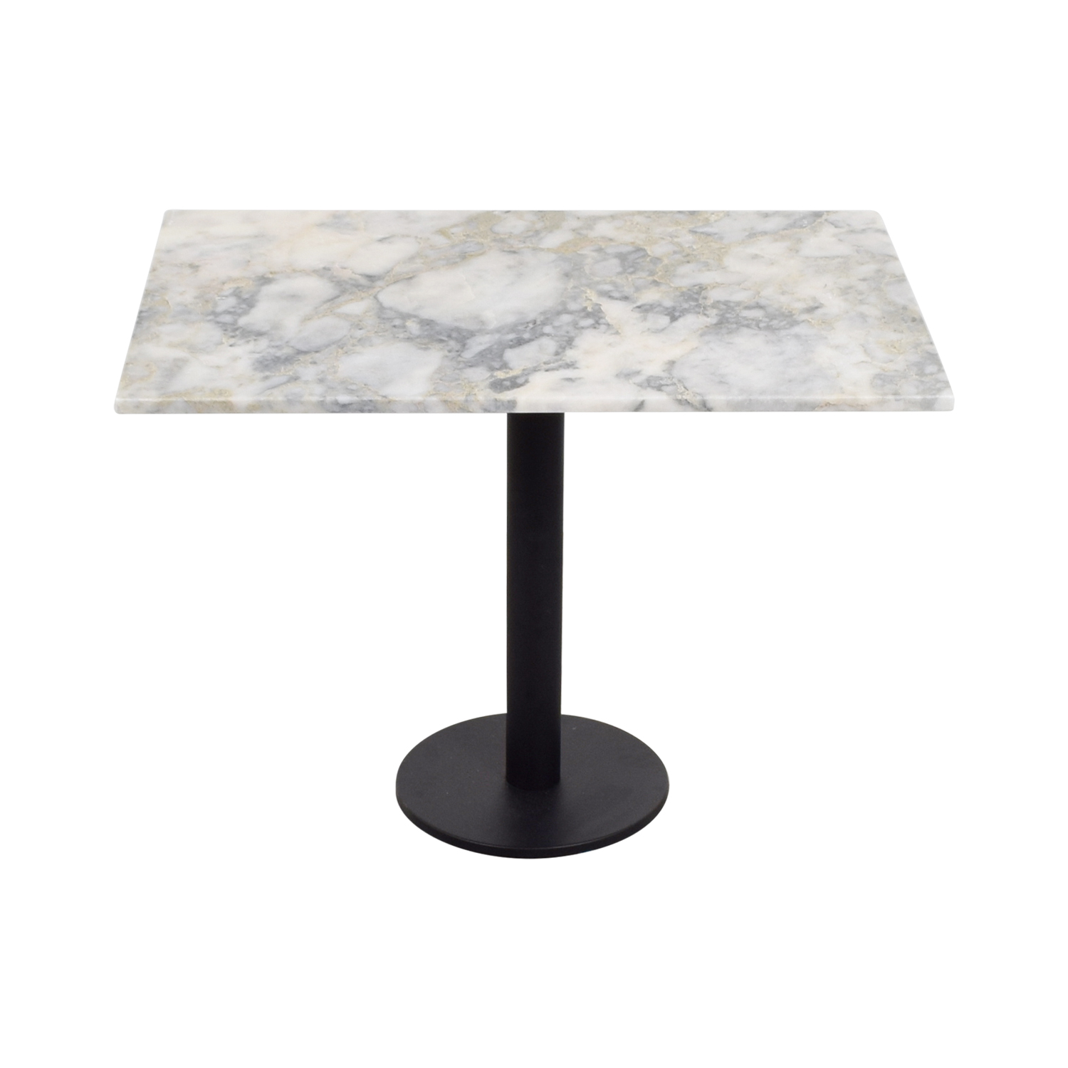 Lotus Lotus White and Gray Rectangular Marble Table used