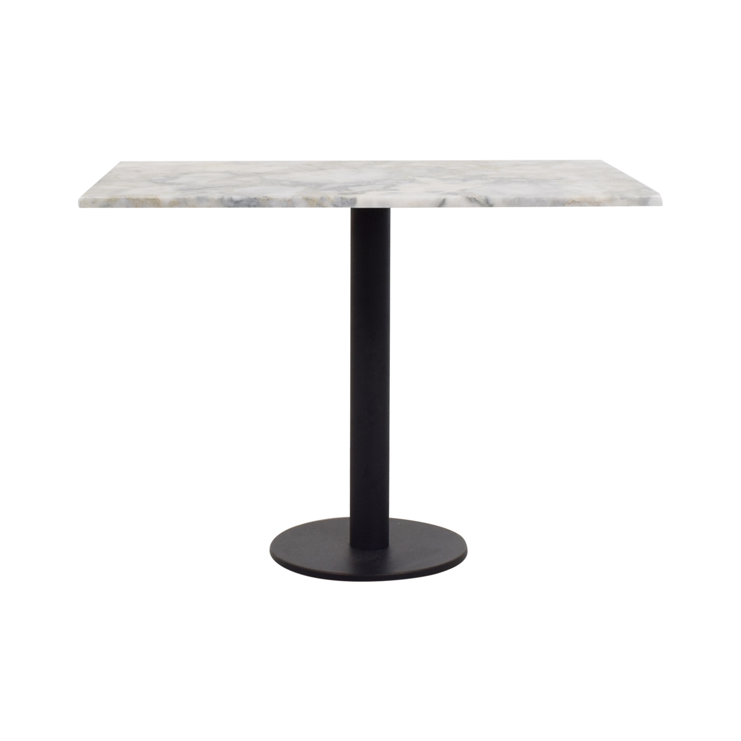Lotus Lotus White and Gray Rectangular Marble Table Tables