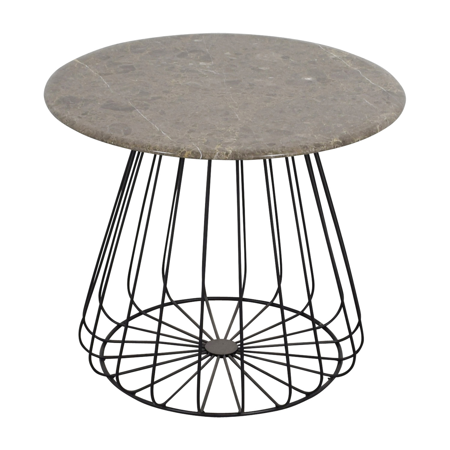... Lotus Lotus Round Grey Marble Table Accent Tables ...