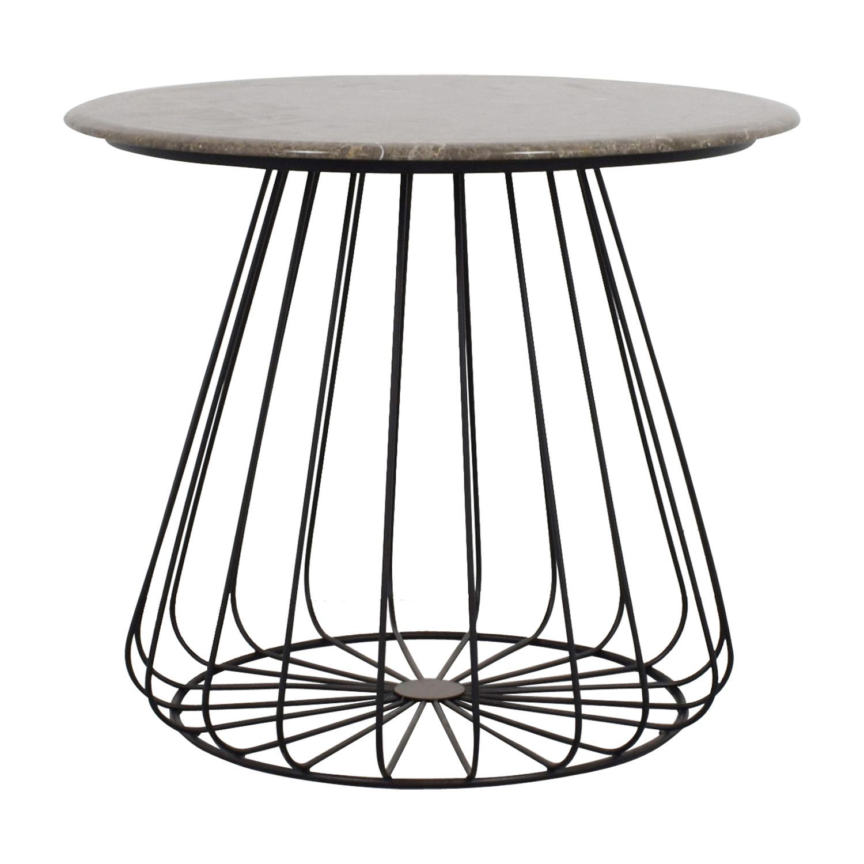 Lotus Lotus Round Grey Marble Table nyc