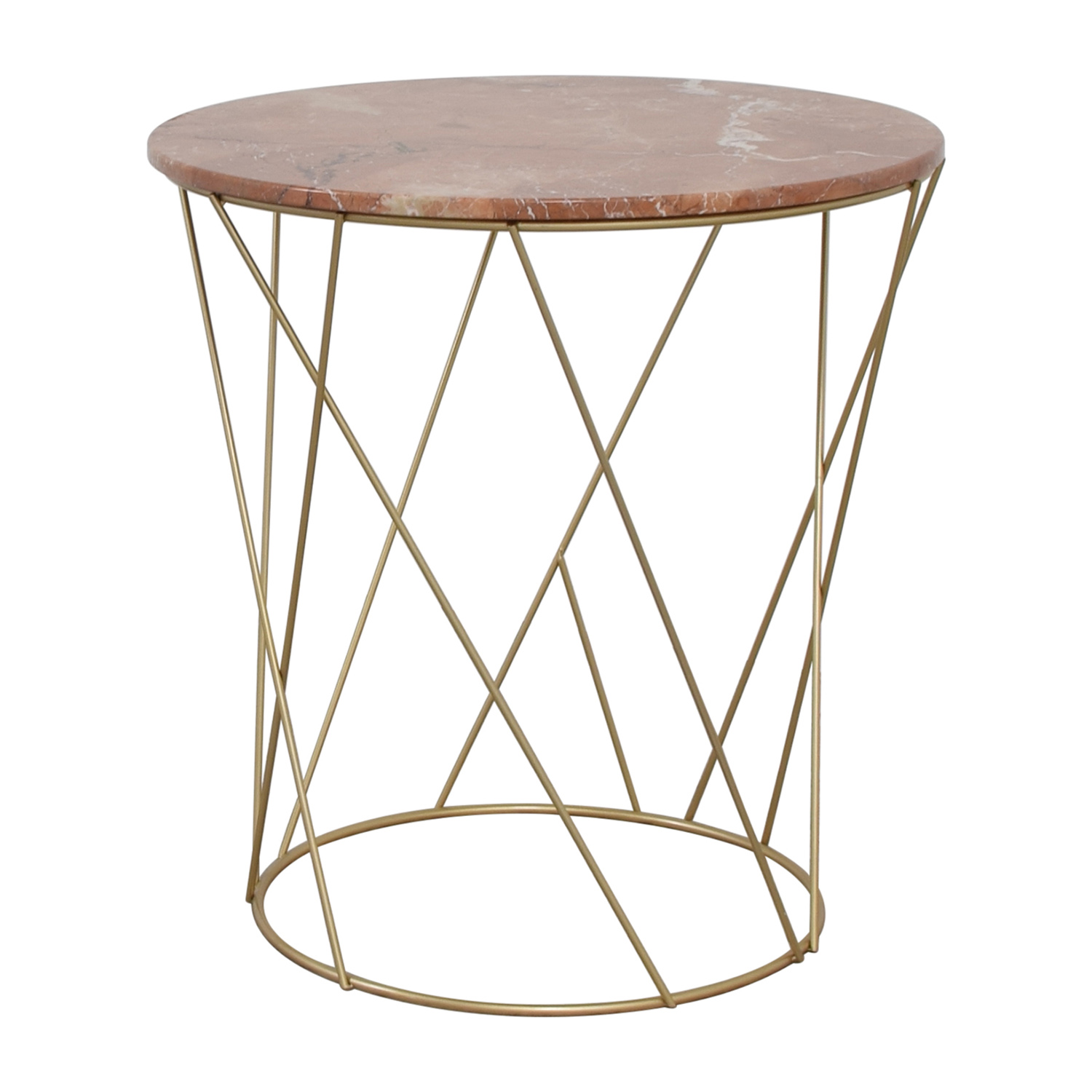90 off lotus lotus pink gold round marble table tables for Round gold side table