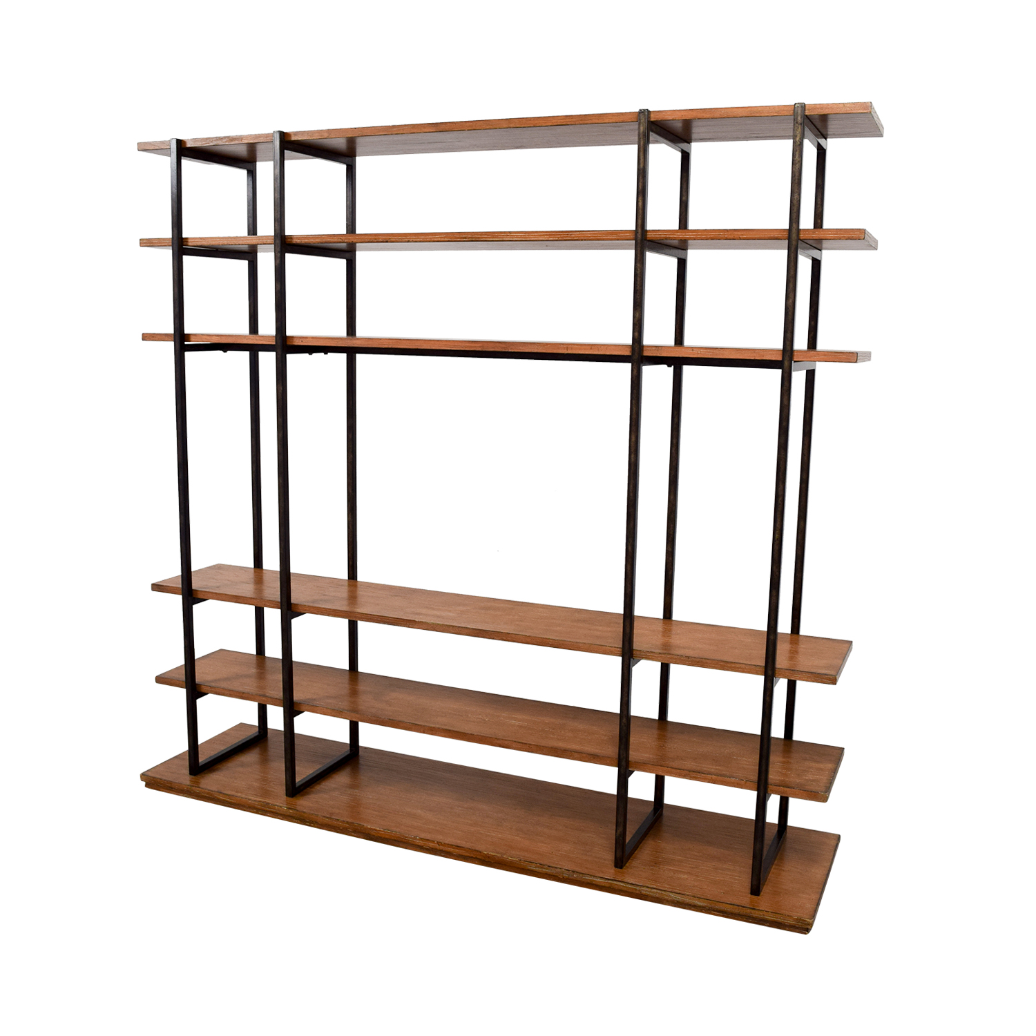 71% OFF - Wood and Metal Entertainment Wall Unit / Storage