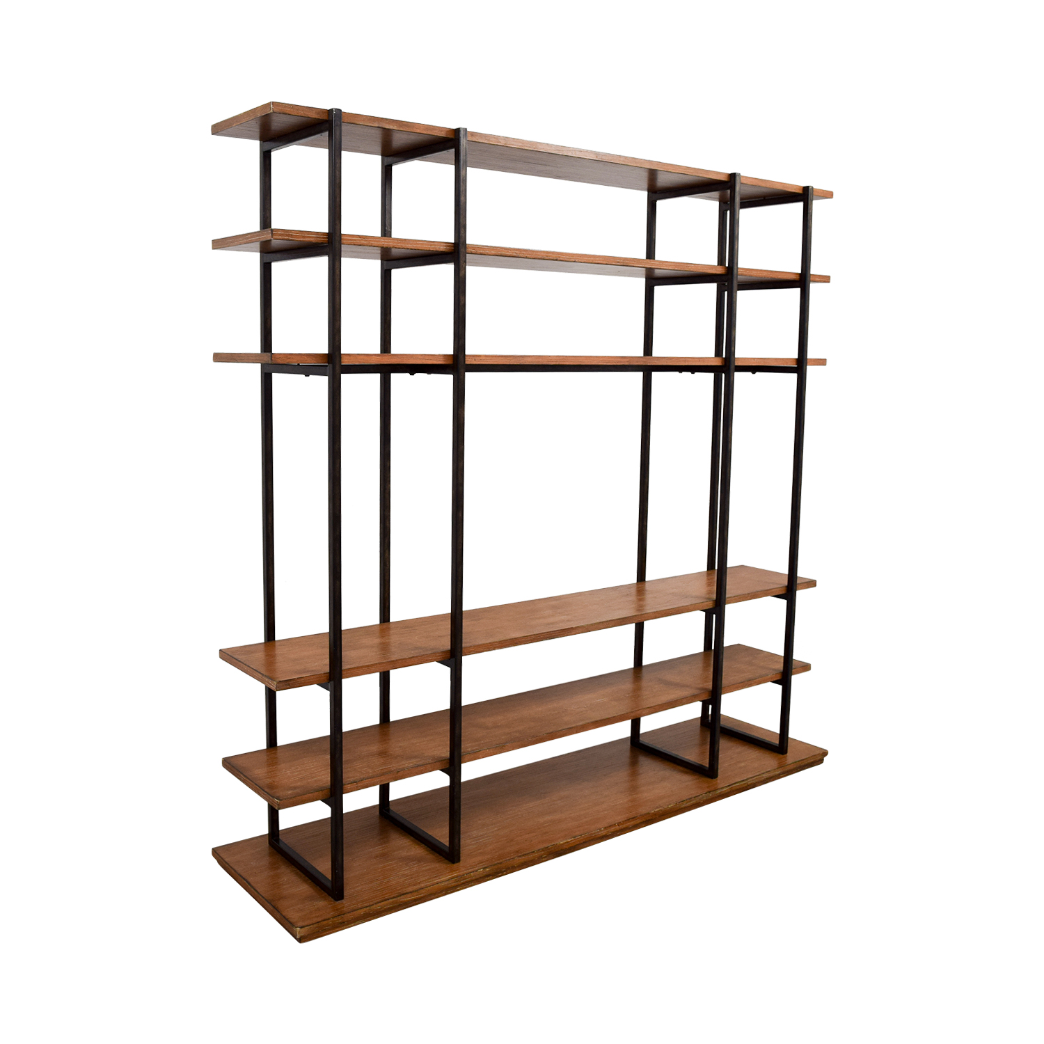 Wood and Metal Entertainment Wall Unit Storage