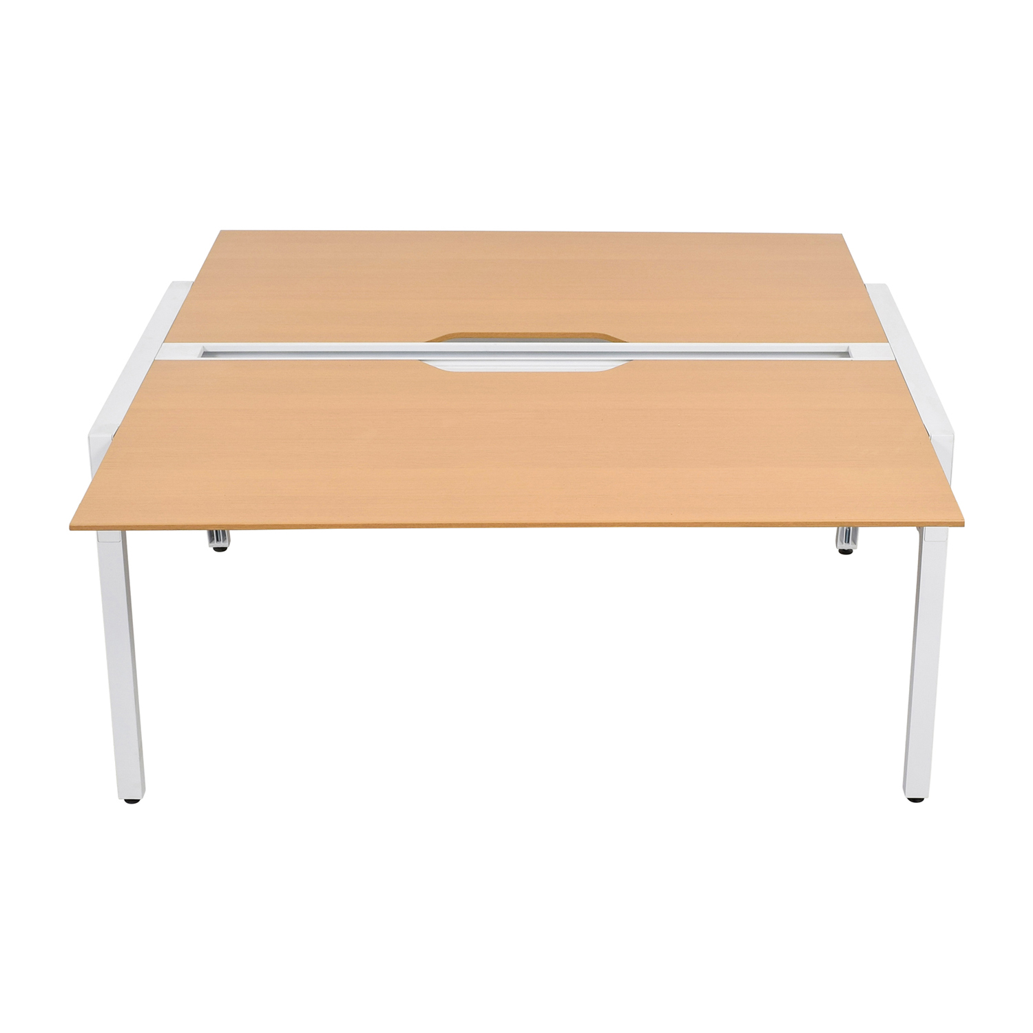 buy Poppin Steelcase Bivi Two Person Beech Wood Desk Poppin Steelcase