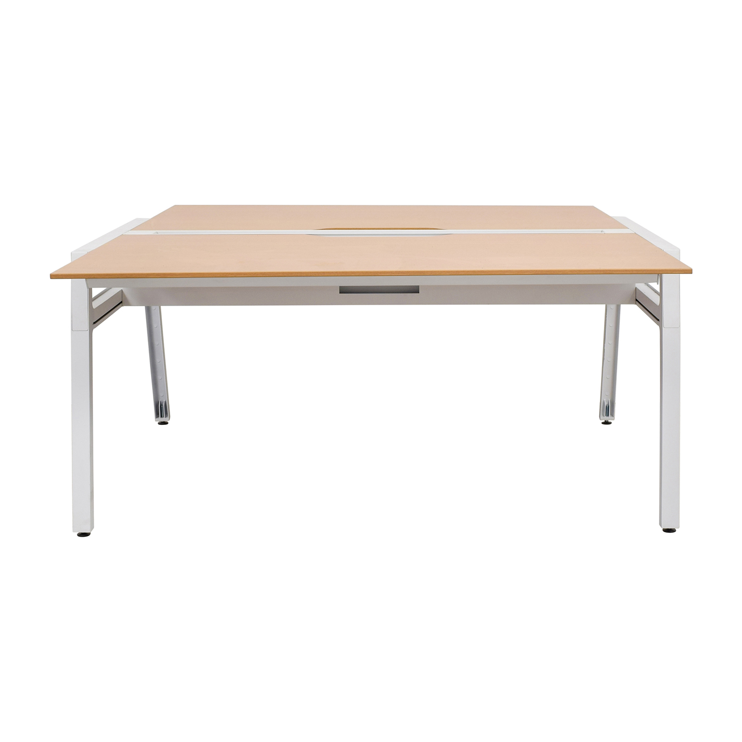 Poppin Steelcase Bivi Two Person Beech Wood Desk sale