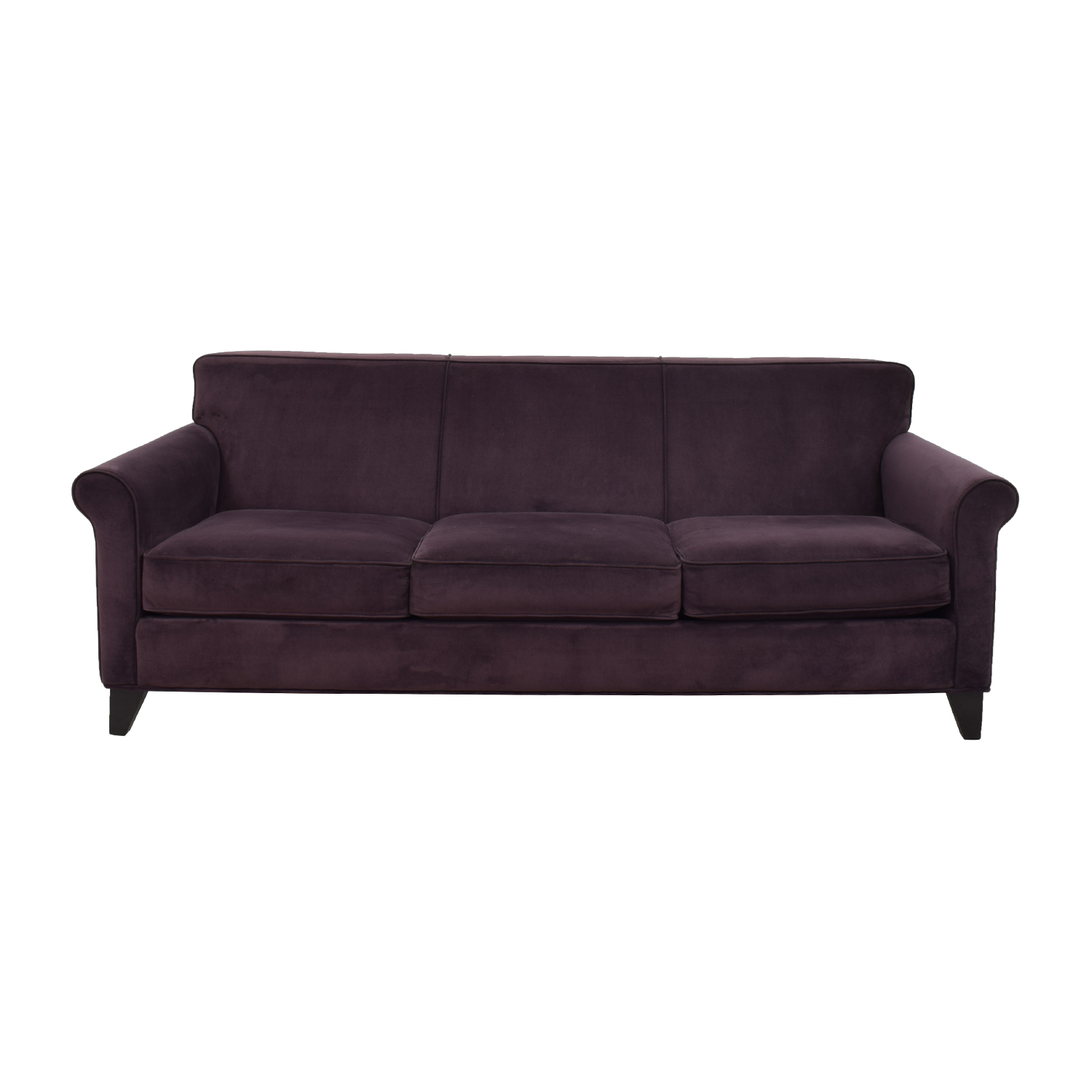 Raymour & Flanigan Raymour & Flanigan Purple Velvet Three-Cushion Sofa on sale