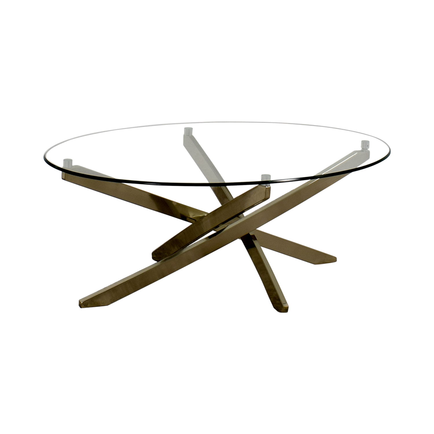 Raymour & Flanigan Zila Glass and Chrome Coffee Table / Coffee Tables