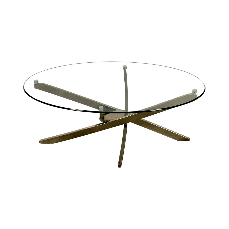 Raymour & Flanigan Zila Glass and Chrome Coffee Table Raymour & Flanigan
