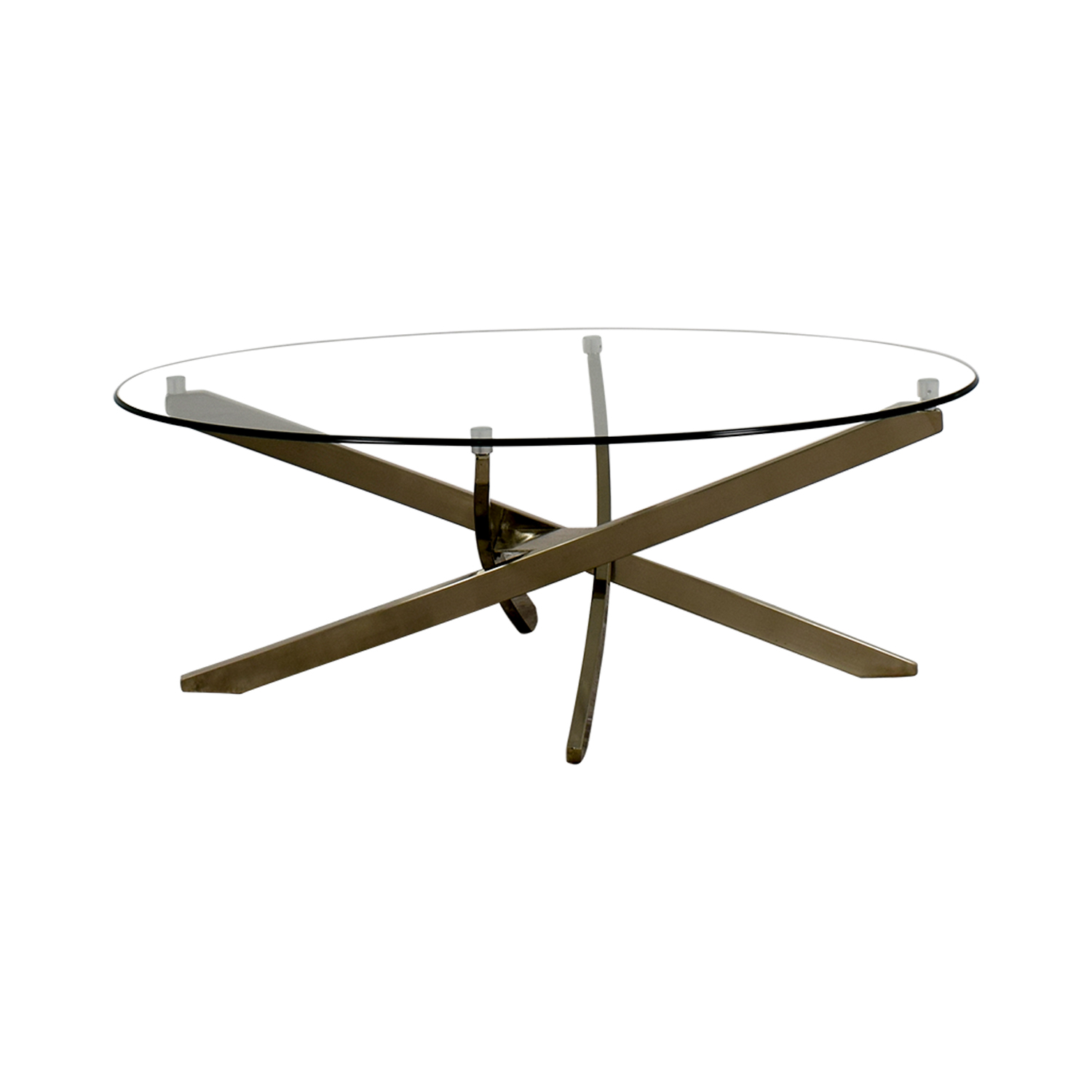 Raymour & Flanigan Zila Glass and Chrome Coffee Table / Sofas