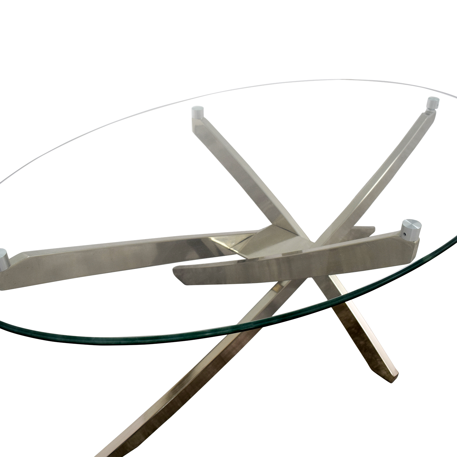 89 Off Raymour Flanigan Raymour Flanigan Zila Glass And Chrome Coffee Table Tables