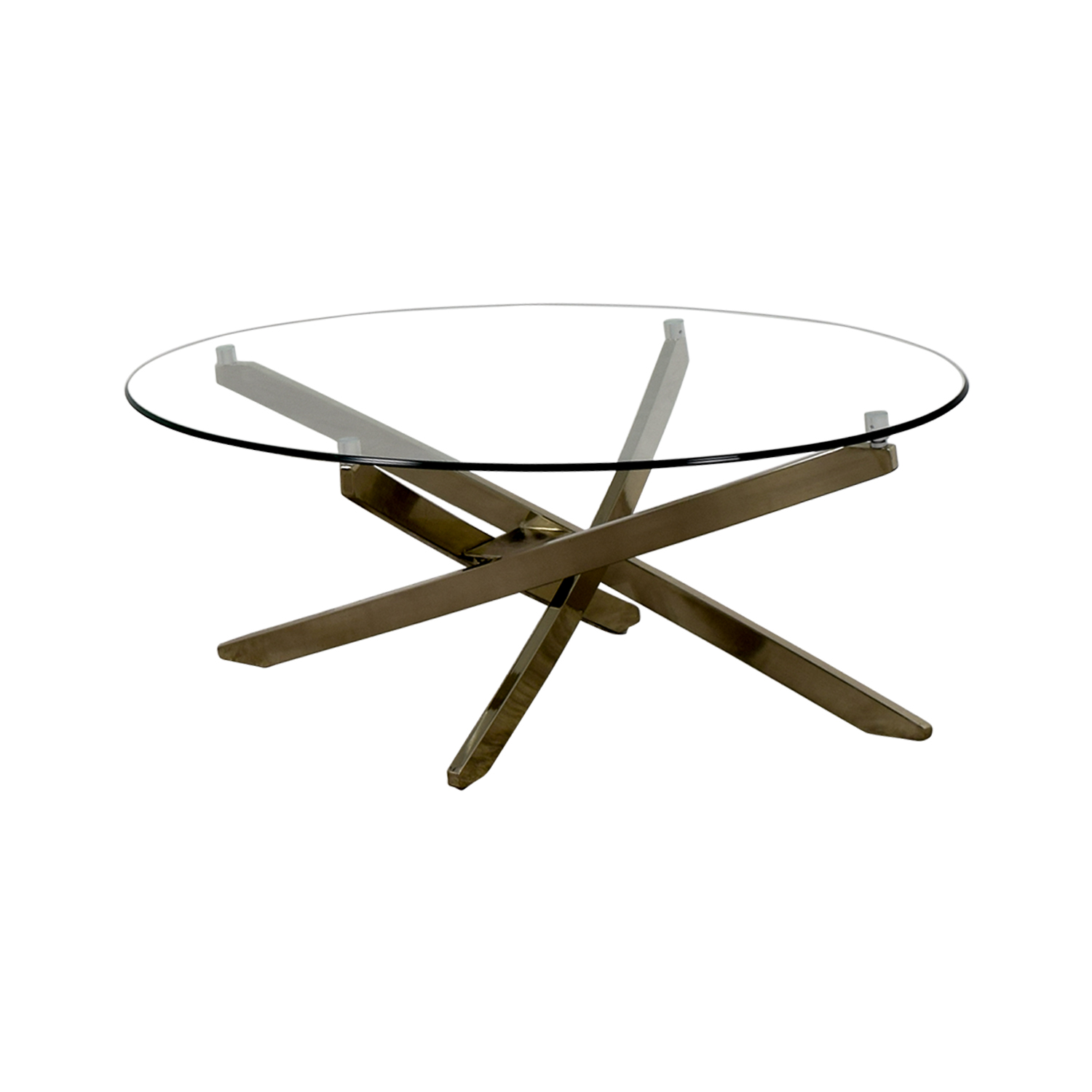 shop Raymour & Flanigan Raymour & Flanigan Zila Glass and Chrome Coffee Table online