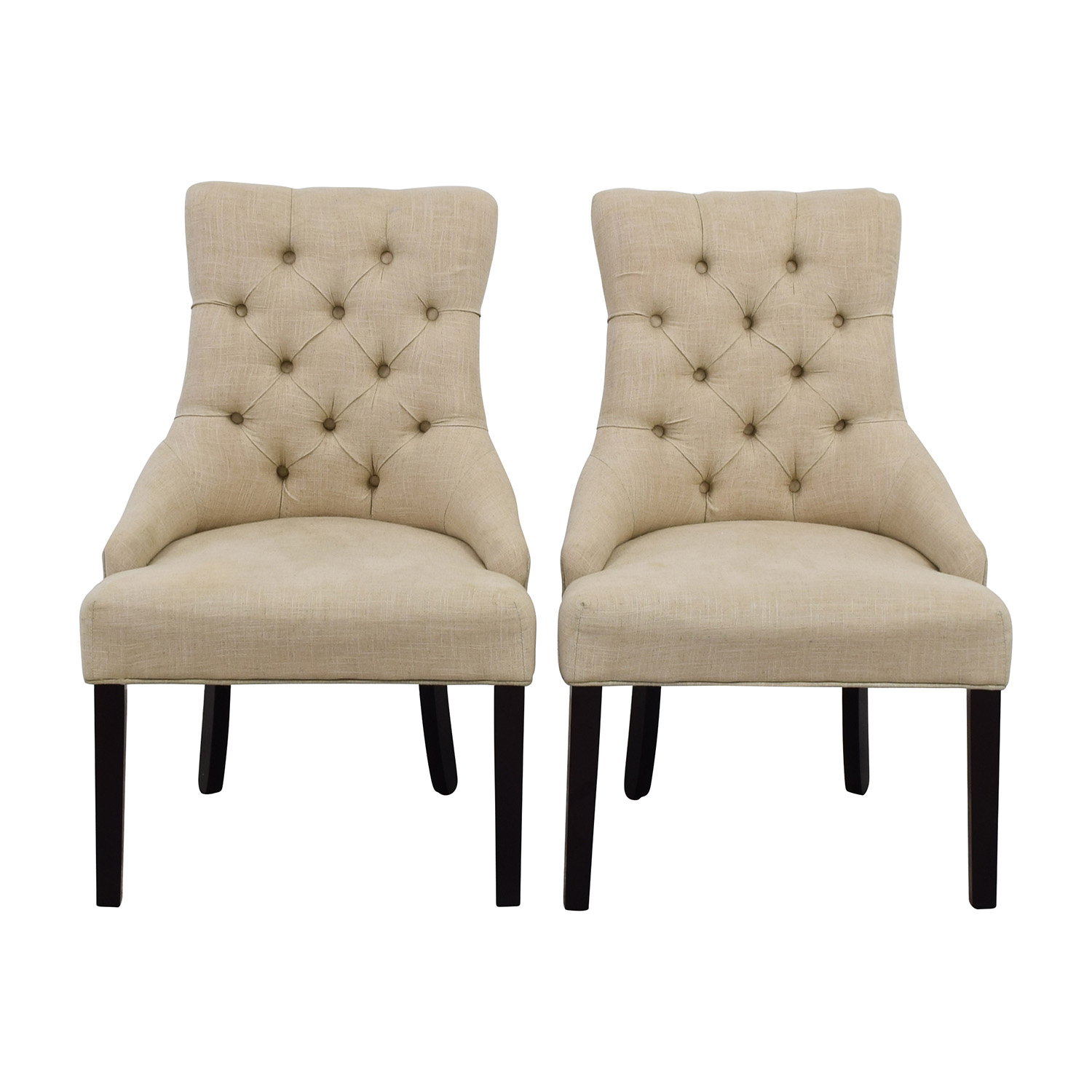 Raymour & Flanigan Raymour & Flanigan White Tufted Chairs nj