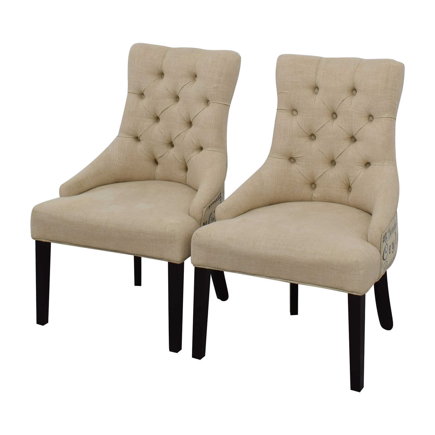 Raymour & Flanigan Raymour & Flanigan White Tufted Chairs for sale