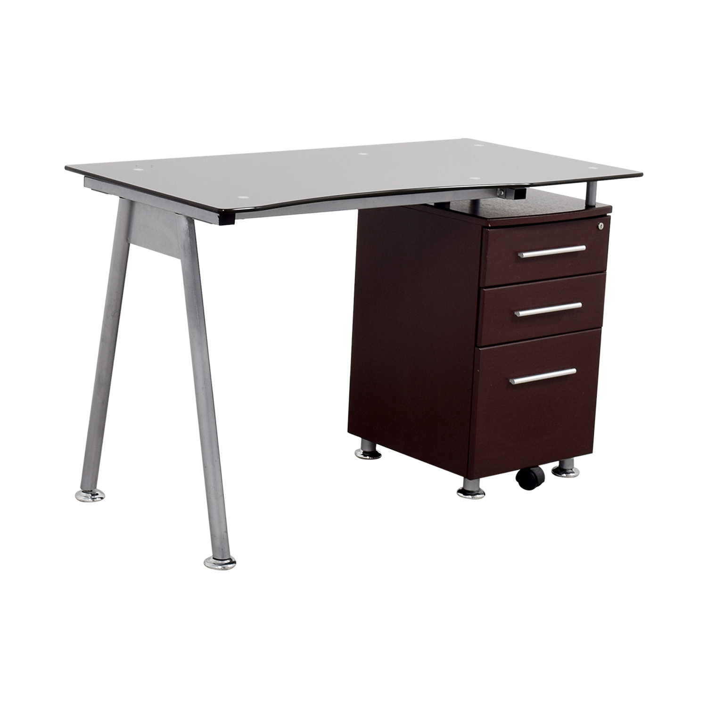 57 off glasstop computer desk with drawers tables. Black Bedroom Furniture Sets. Home Design Ideas
