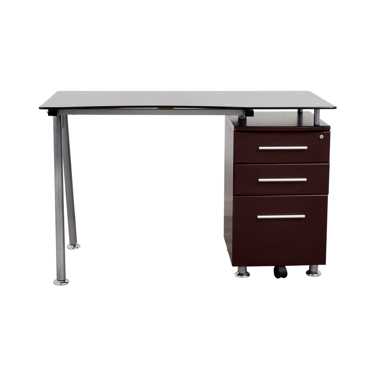 Glasstop Computer Desk with Drawers sale