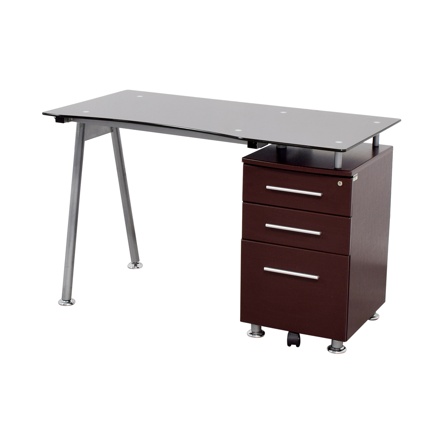 Glasstop Computer Desk with Drawers on sale