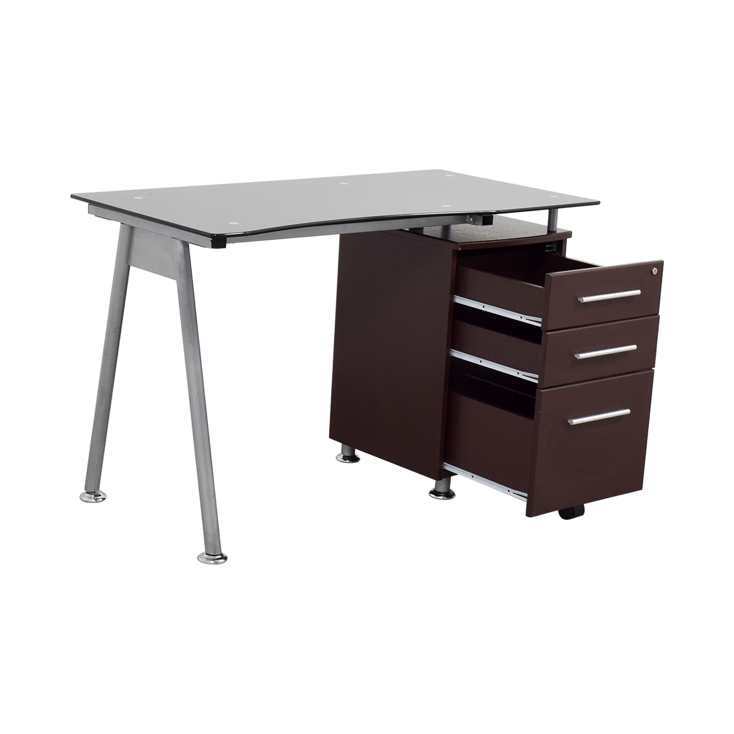 Glasstop Computer Desk With Drawers Tables