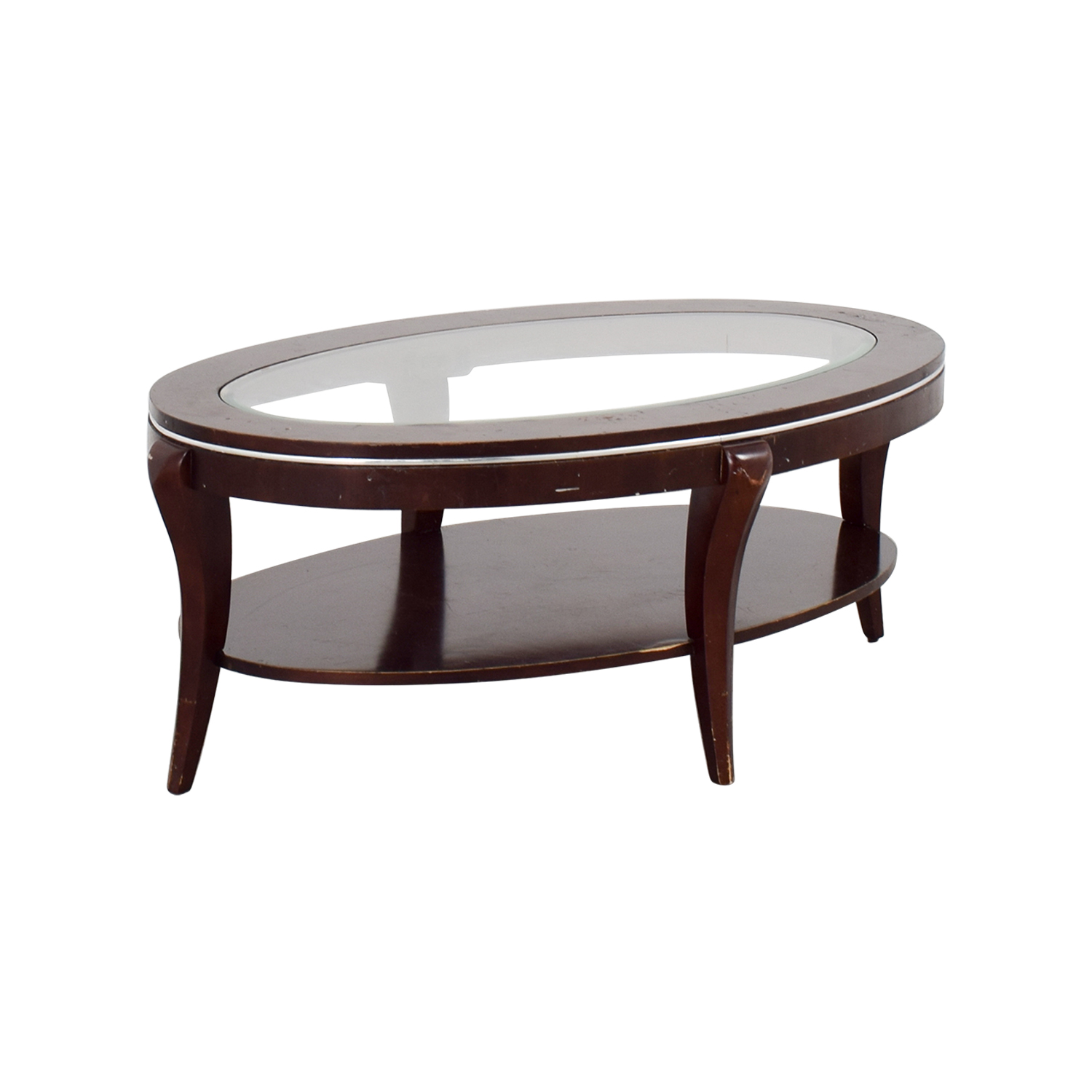 89 off wood and glass oval coffee table tables for Oval glass coffee table