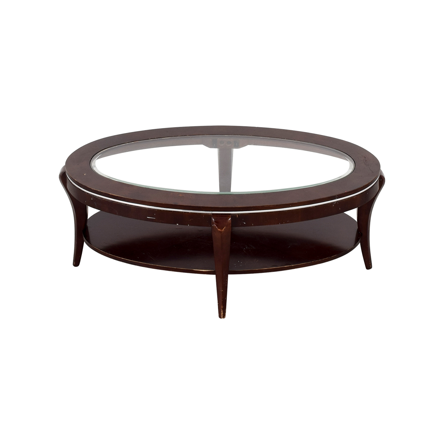 shop Wood and Glass Oval Coffee Table Coffee Tables