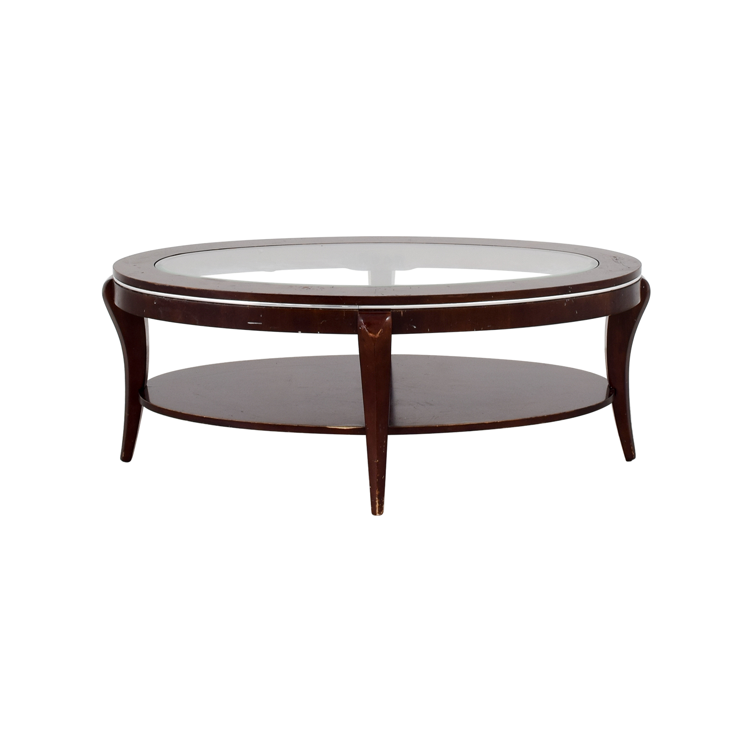 89% OFF   Wood And Glass Oval Coffee Table / Tables