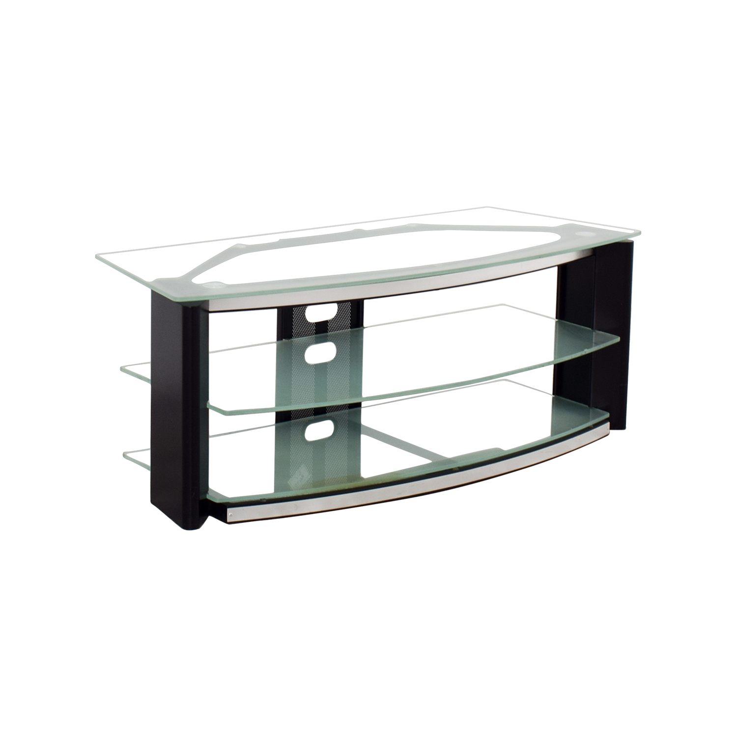 90 off best buy best buy glass and metal tv stand storage. Black Bedroom Furniture Sets. Home Design Ideas