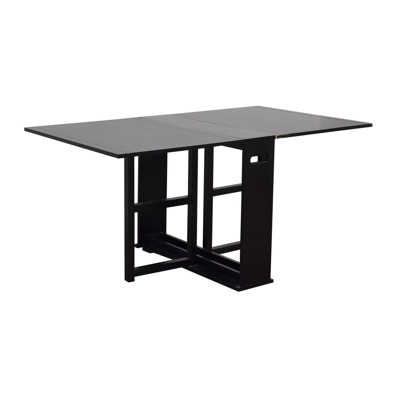 75 Off Crate Barrel Span Black Gateleg Dining Table Tables