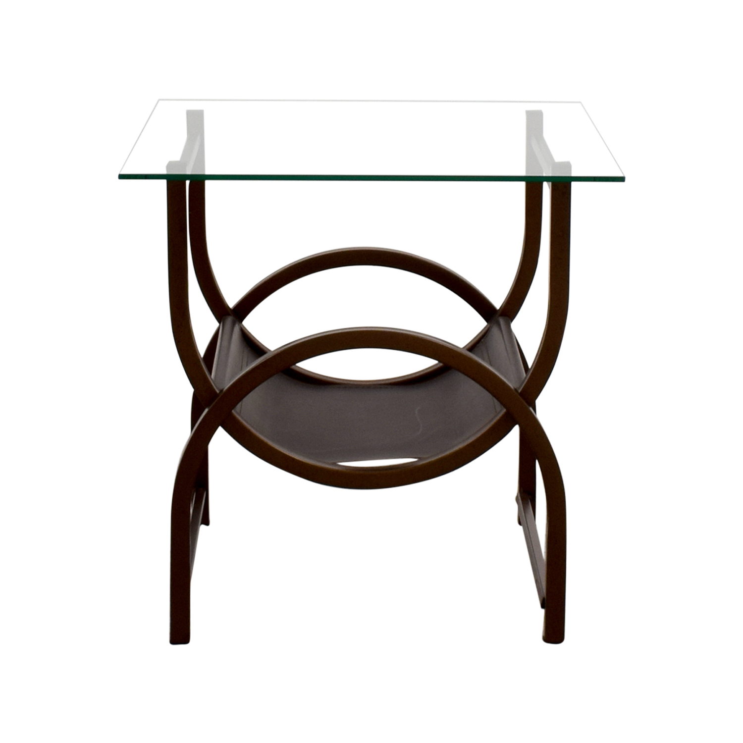 Glass and Wrought Iron Side Table / Tables