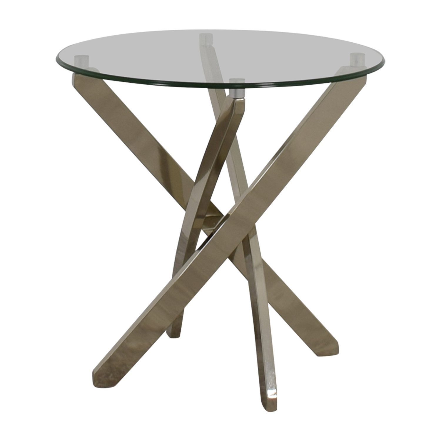 Raymour & Flanigan Raymour & Flanigan Glass and Chrome Round Side Table End Tables