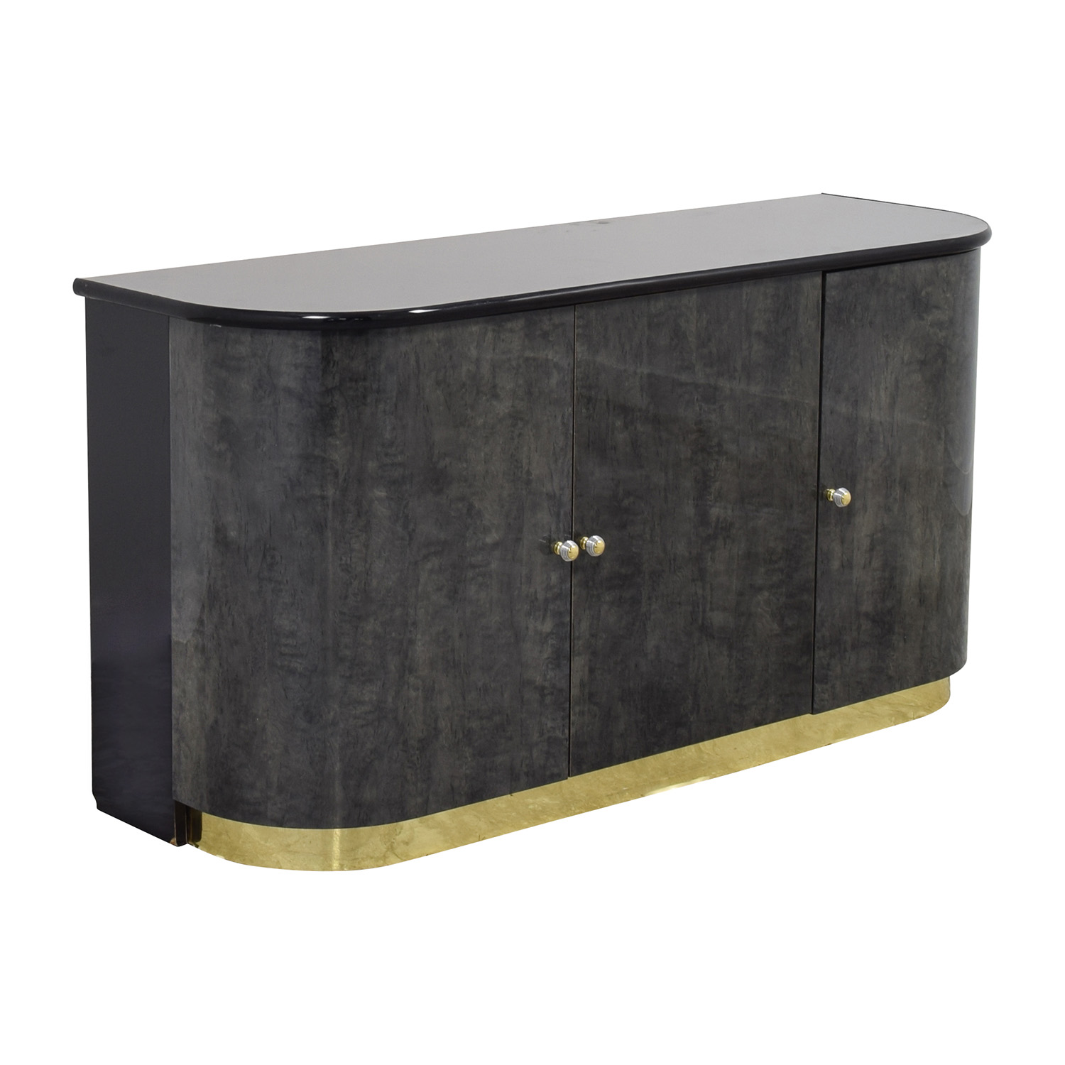 Black Dining Room Cabinet With Gold Accents