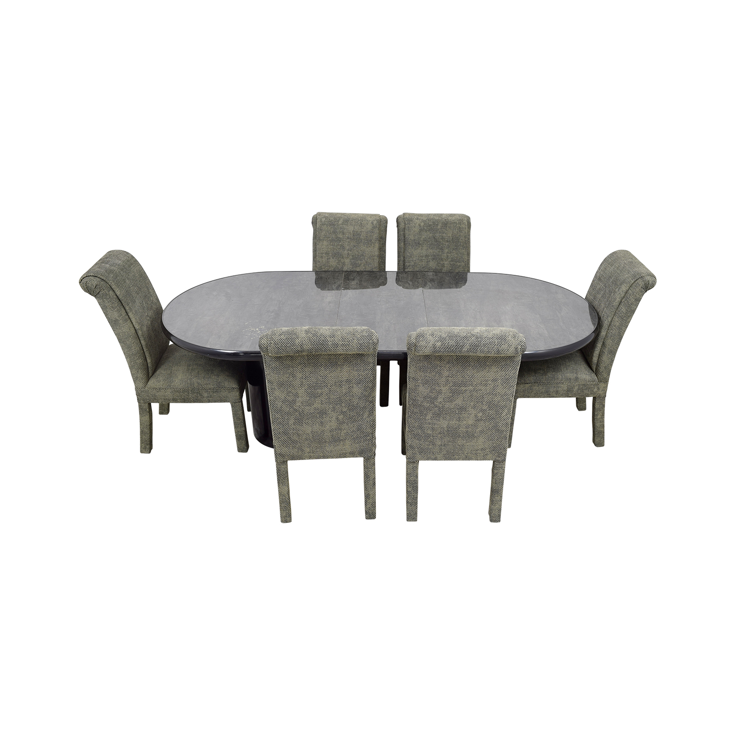 shop Charcoal Dining Set with Upholstered Chairs Tables