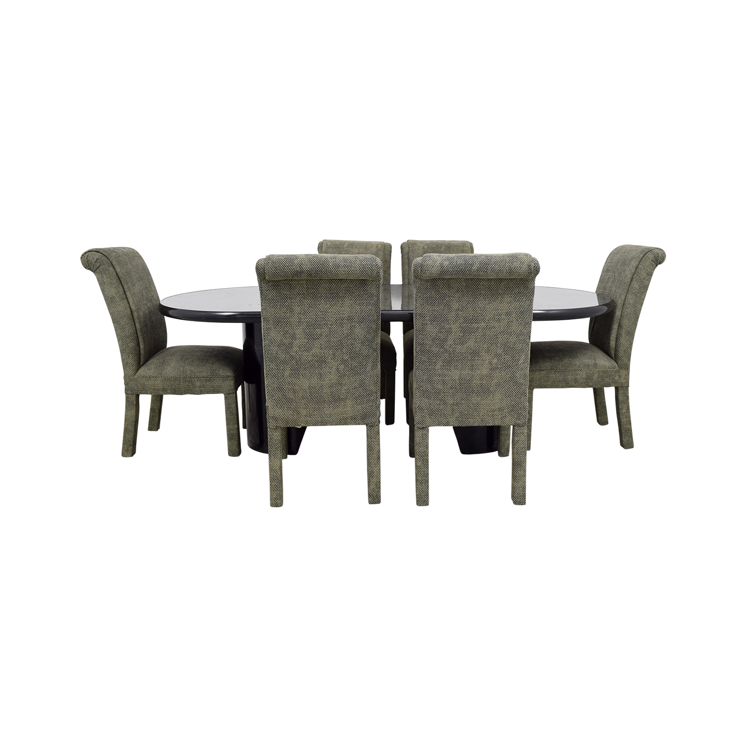 Charcoal Dining Set with Upholstered Chairs used