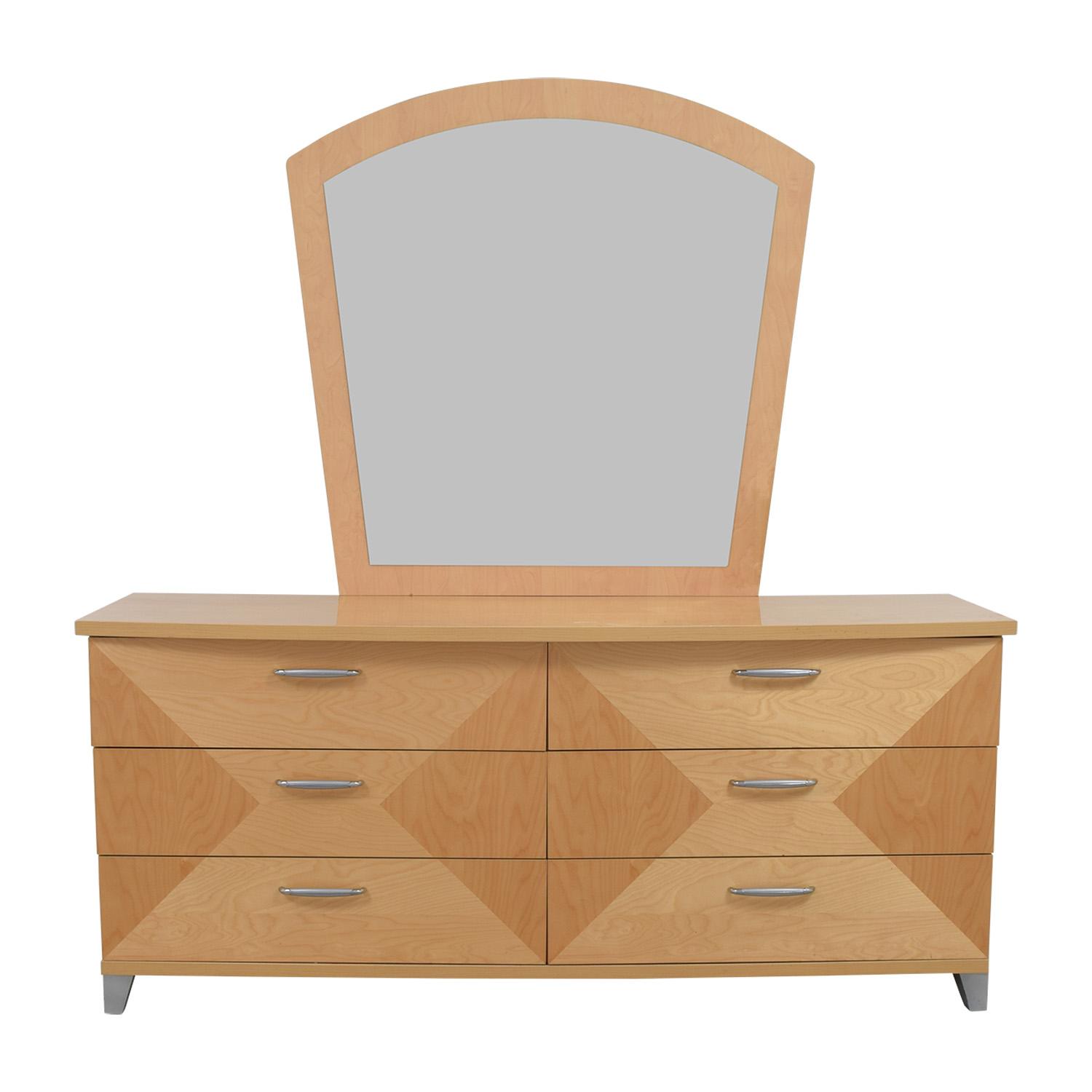 buy Two-Toned Natural Bedroom Dresser with Mirror