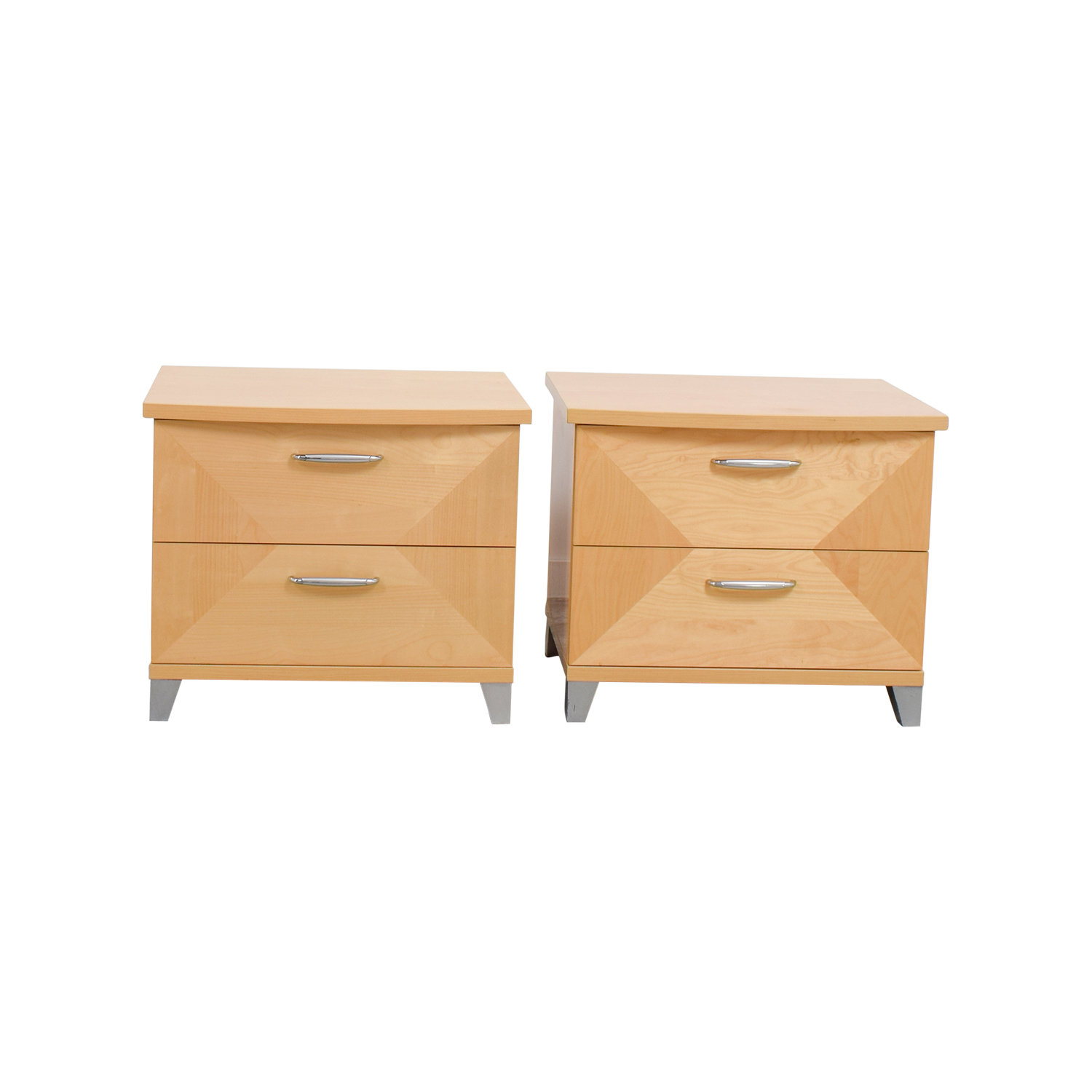 Natural Two-Drawer Night Stands dimensions