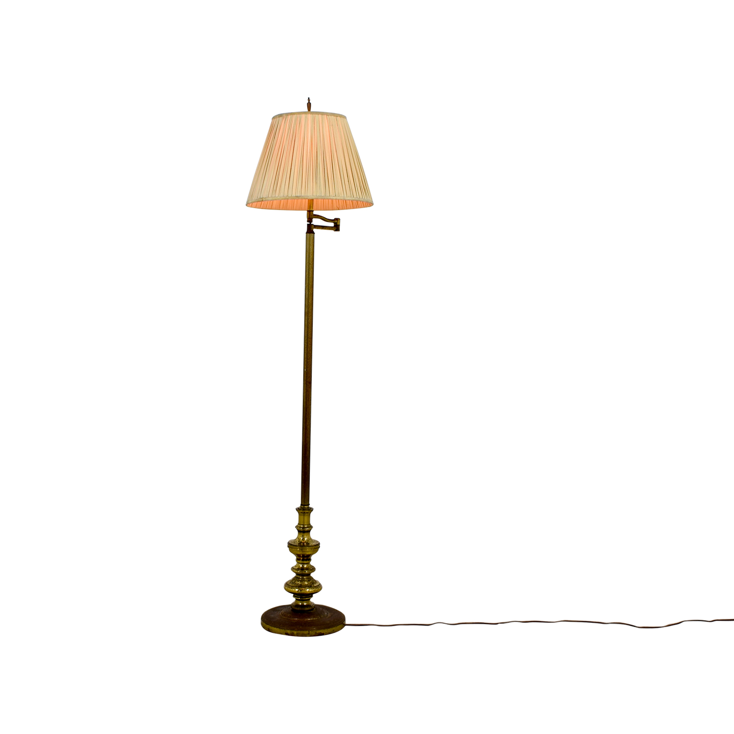 Brass Floor Lamp with Accordion Shade for sale