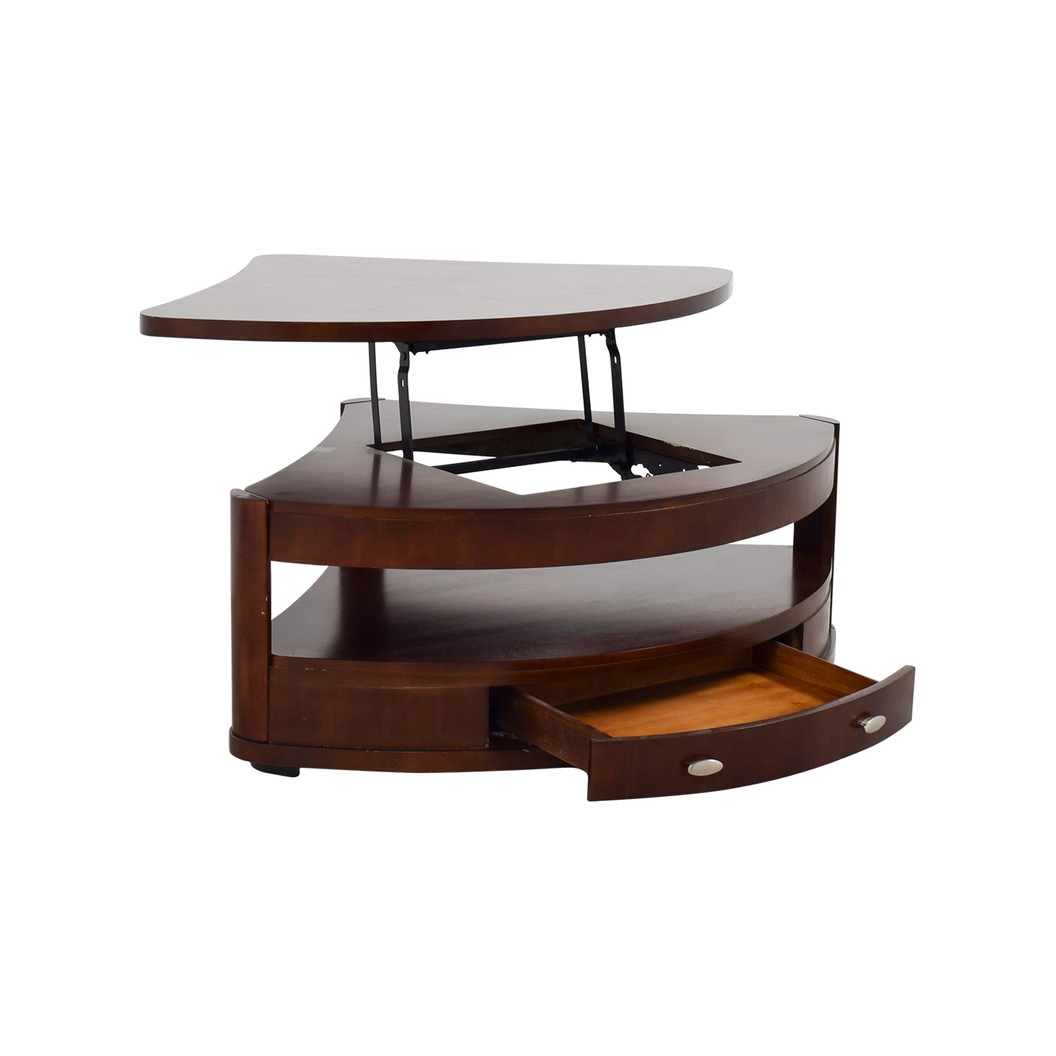 90 off triangular rounded lift top coffee table tables. Black Bedroom Furniture Sets. Home Design Ideas