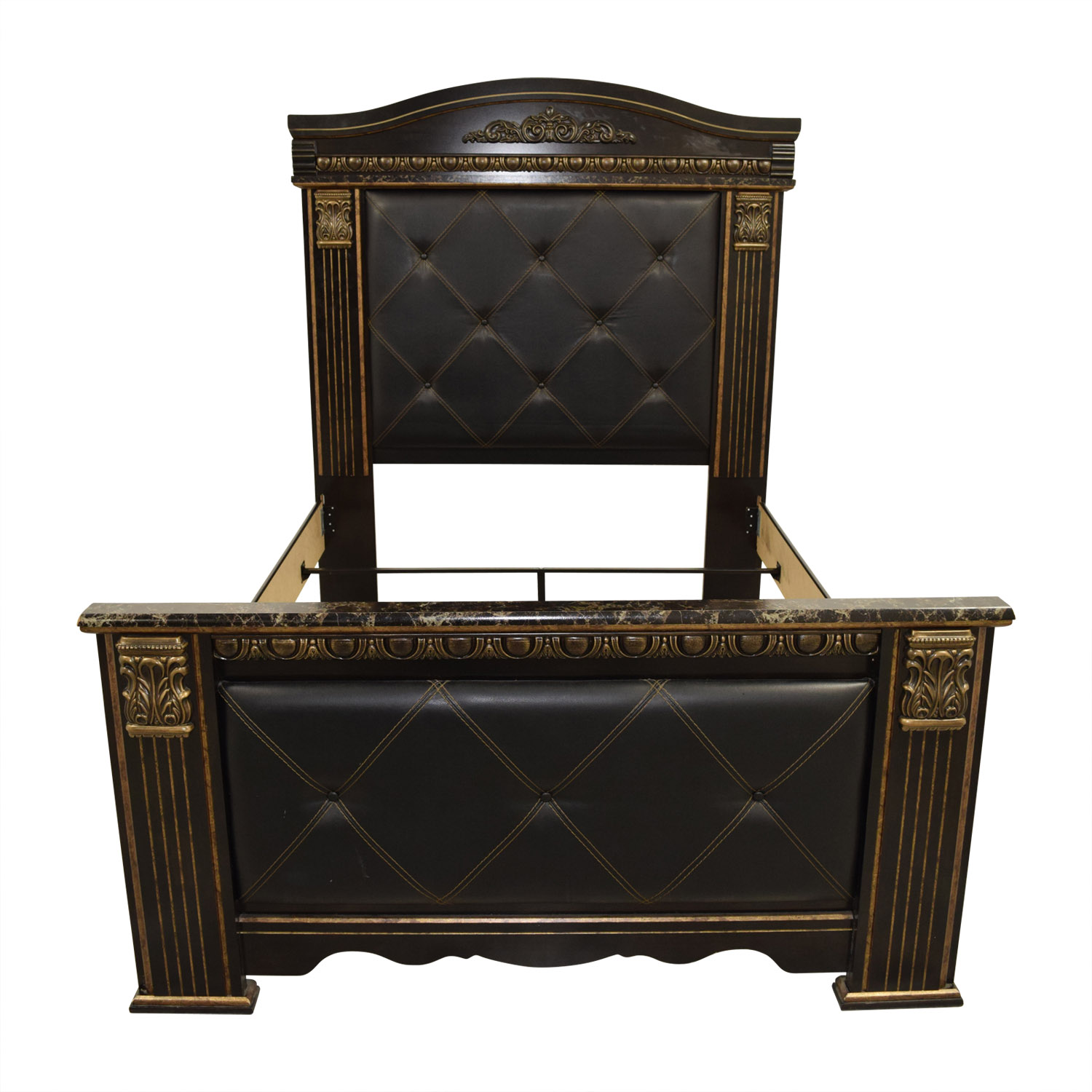 shop Signature Cal King Black Leather with Gold Trim Bed Frame Signature Sofas