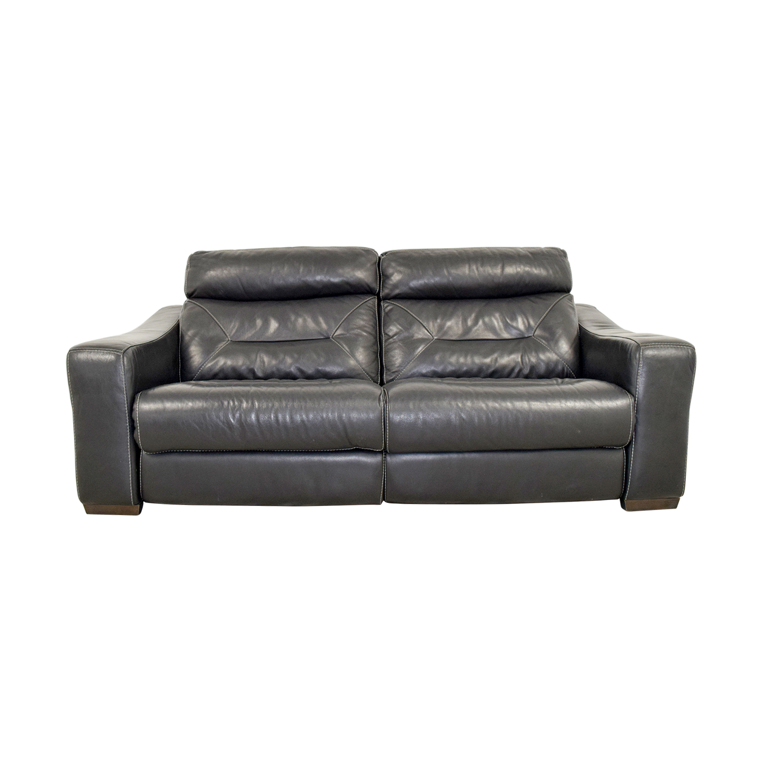 Macys Macys Black Leather Recliner Sofa
