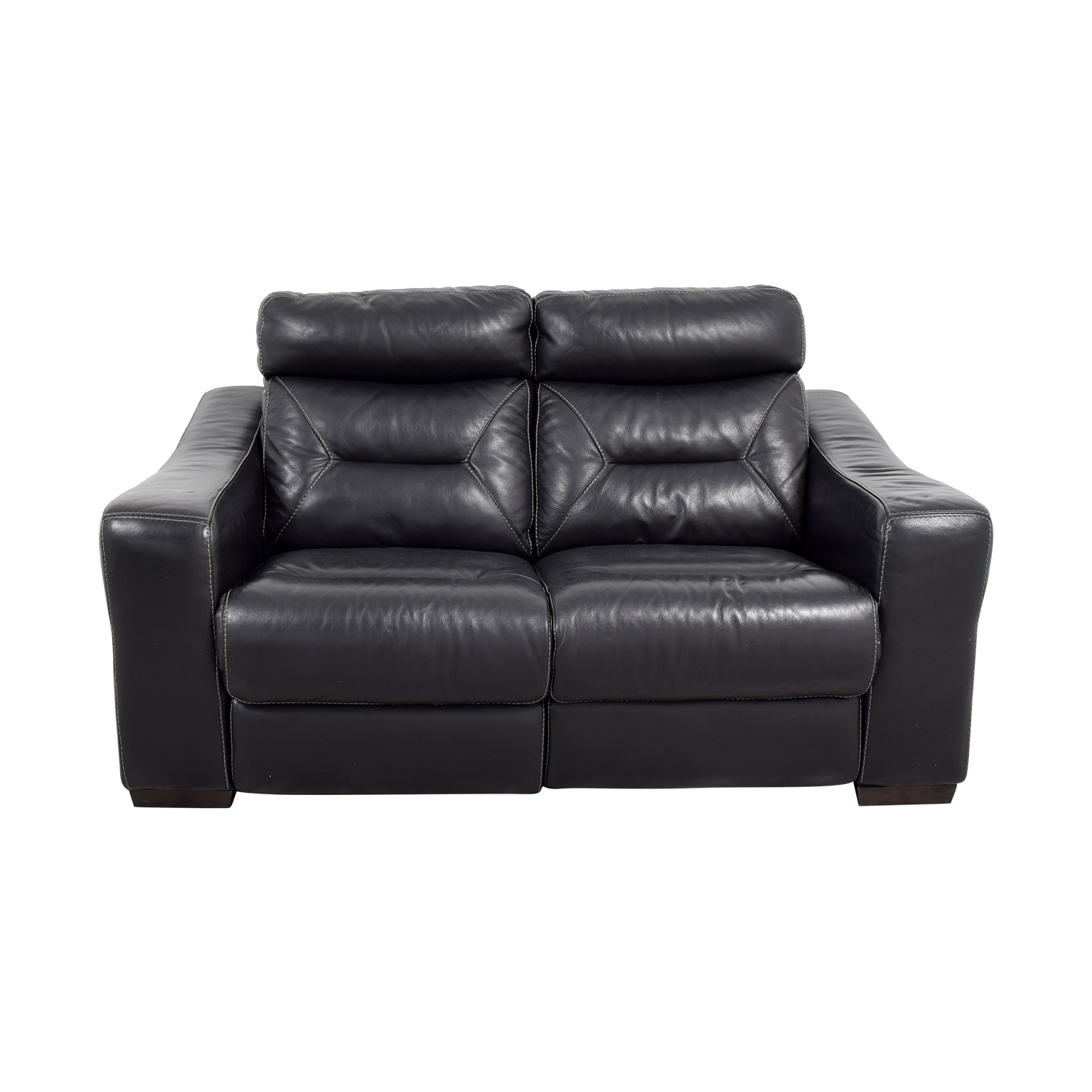 Macy's Macy's Black Leather Recliner Love Seat nj