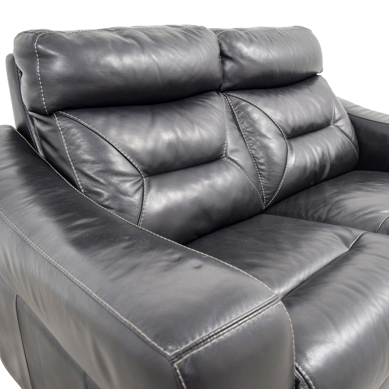 Macys Sell: Macy's Macy's Black Leather Recliner Love Seat