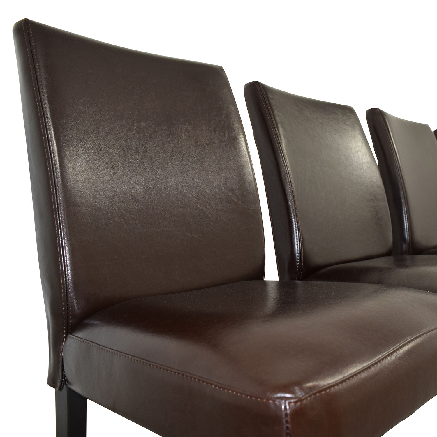 Off ikea brown leather dining chairs