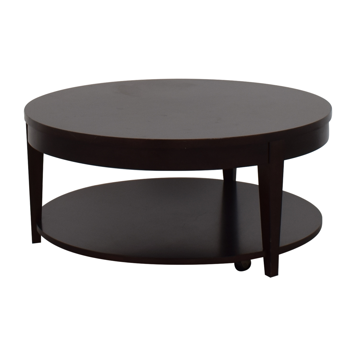 Macys Macys Modern Rolling Round Coffee Table Brown