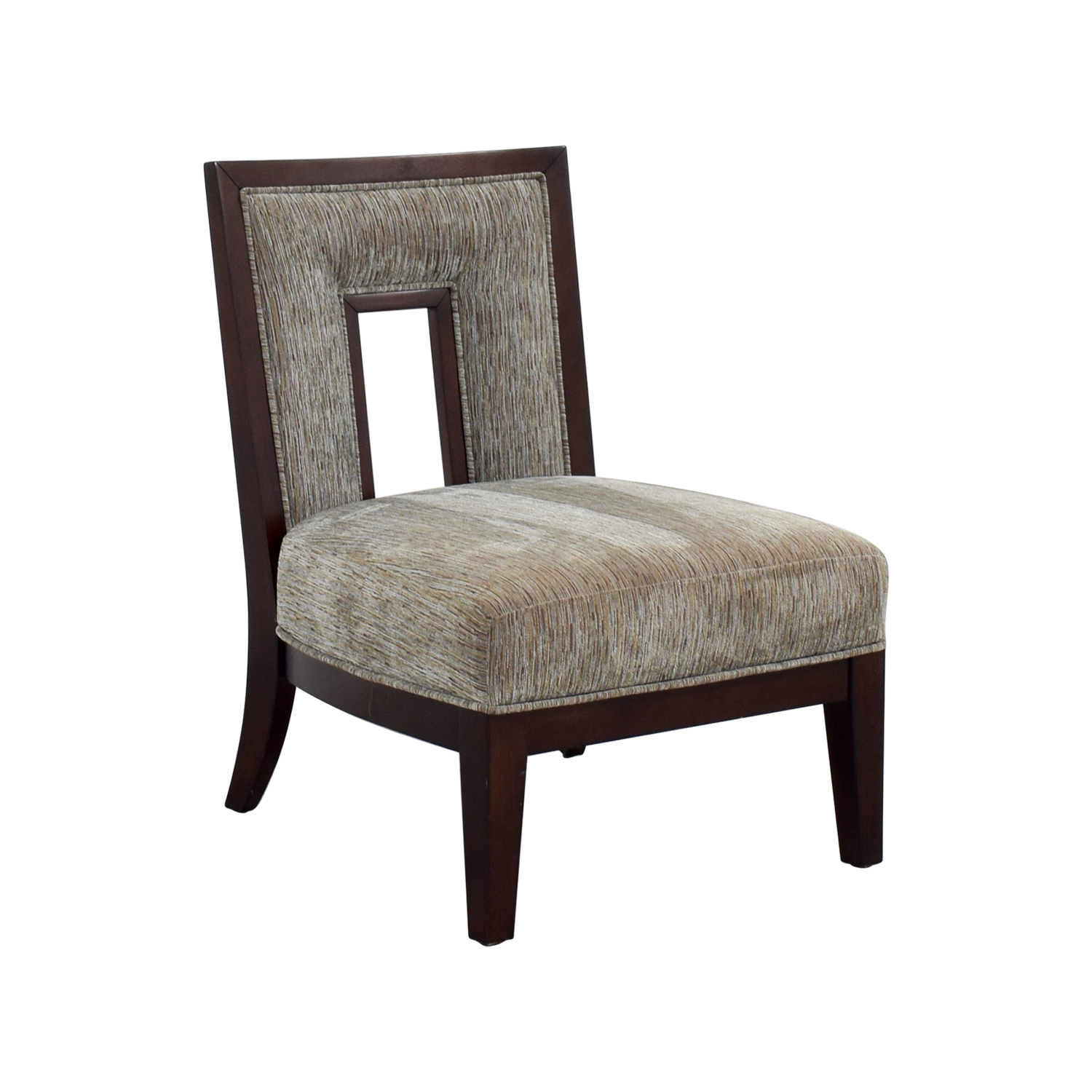 Grey Multi-Colored Cut-out Back Accent Chair