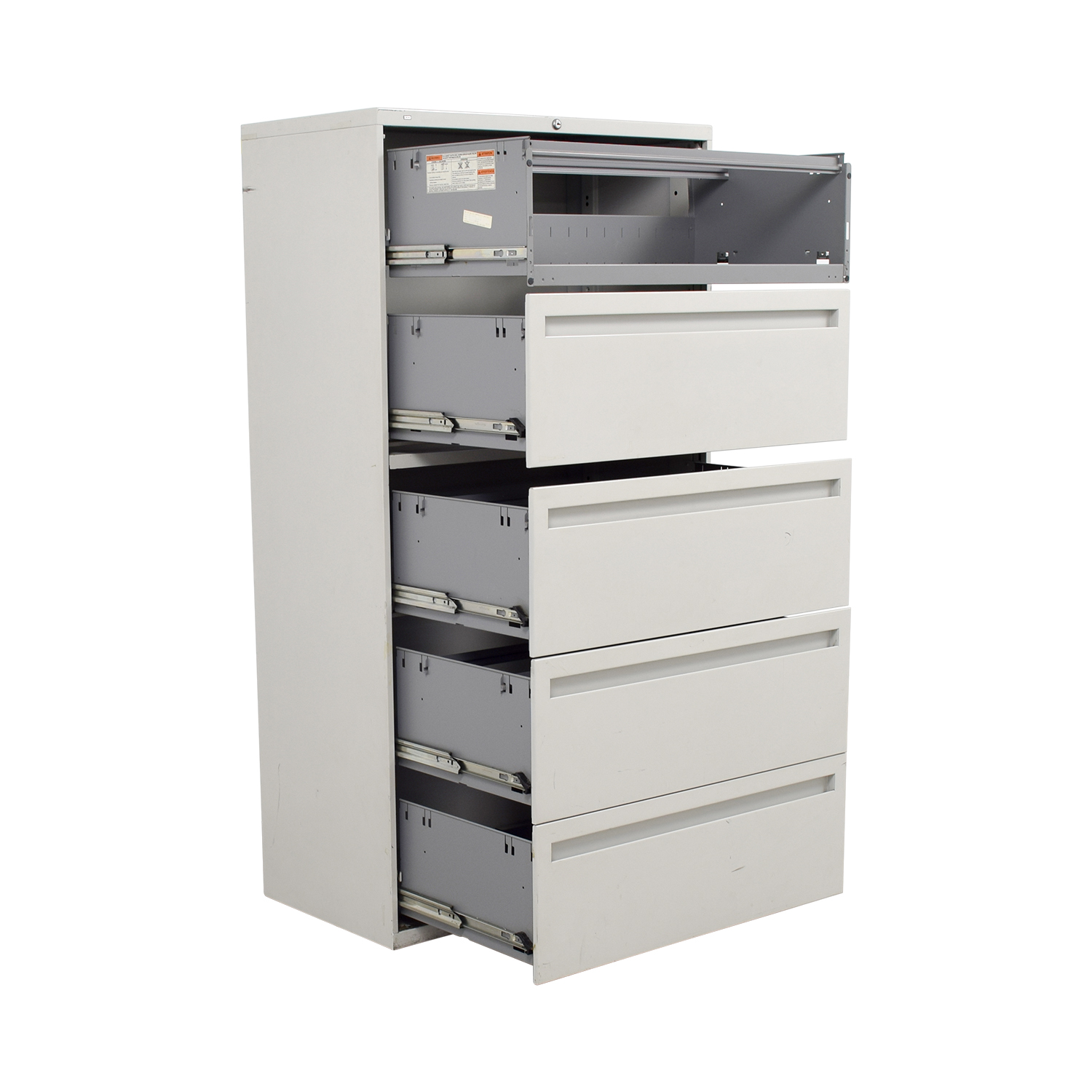 Hon White Five Drawer Lateral File Cabinet sale