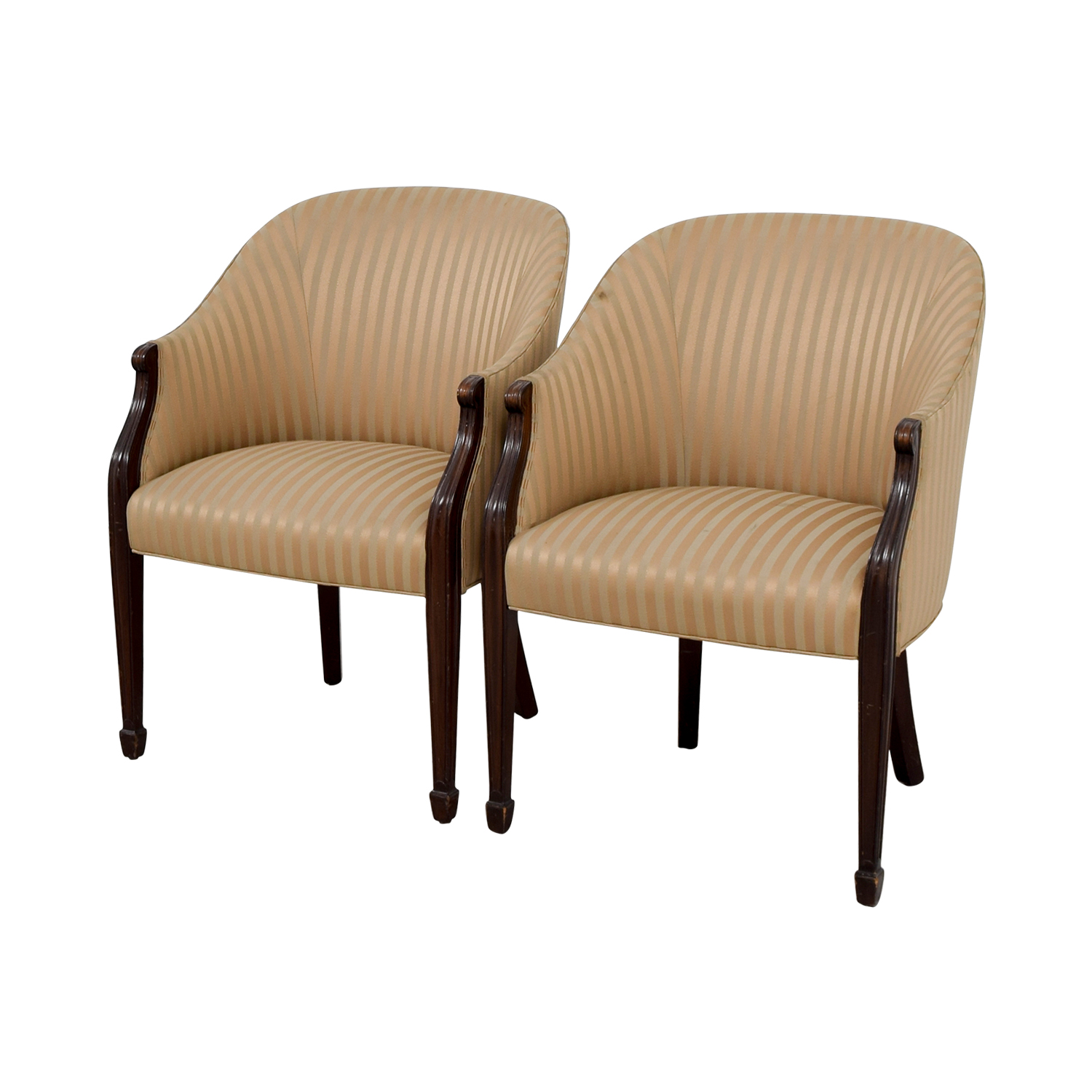 Paoli Gold Striped Accent Chairs On
