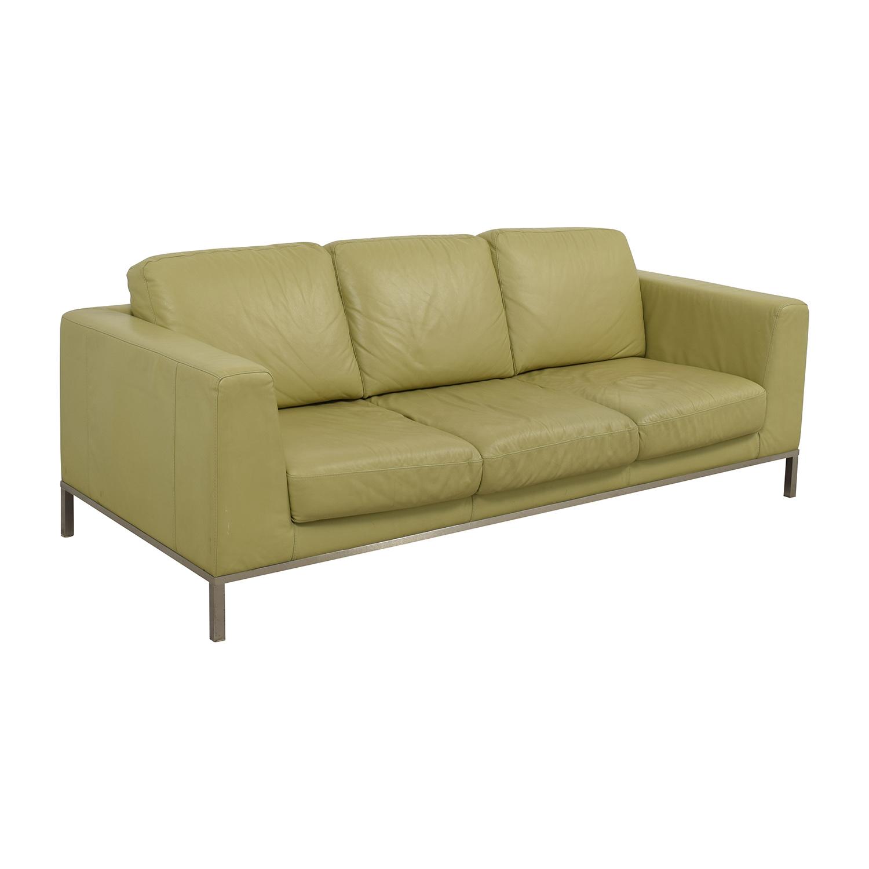 Italsofa Leather Sofa: Natuzzi Italsofa Green Leather Sofa / Sofas